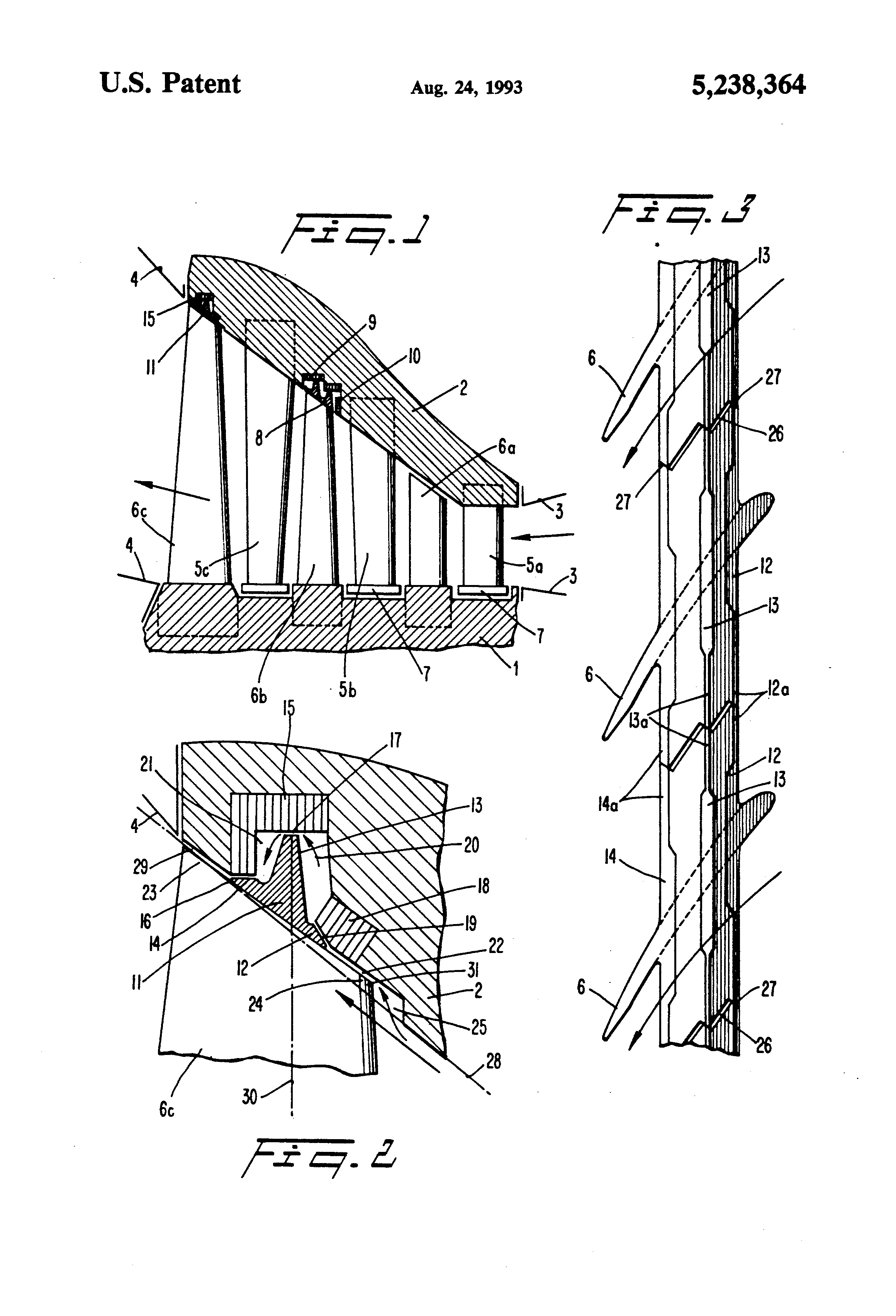 Patent Us5238364 Shroud Ring For An Axial Flow Turbine Google Jet Engine Diagram Of Axialflow Drawing