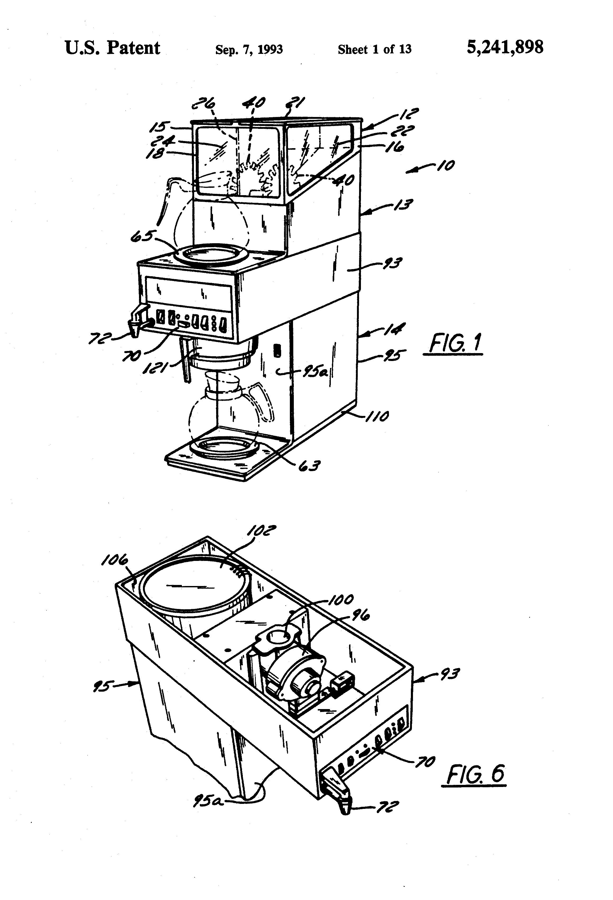 Patent Us5241898 Coffee Dispenser And Brewer Apparatus Google Bunn Brew Phase Wiring Diagram Drawing