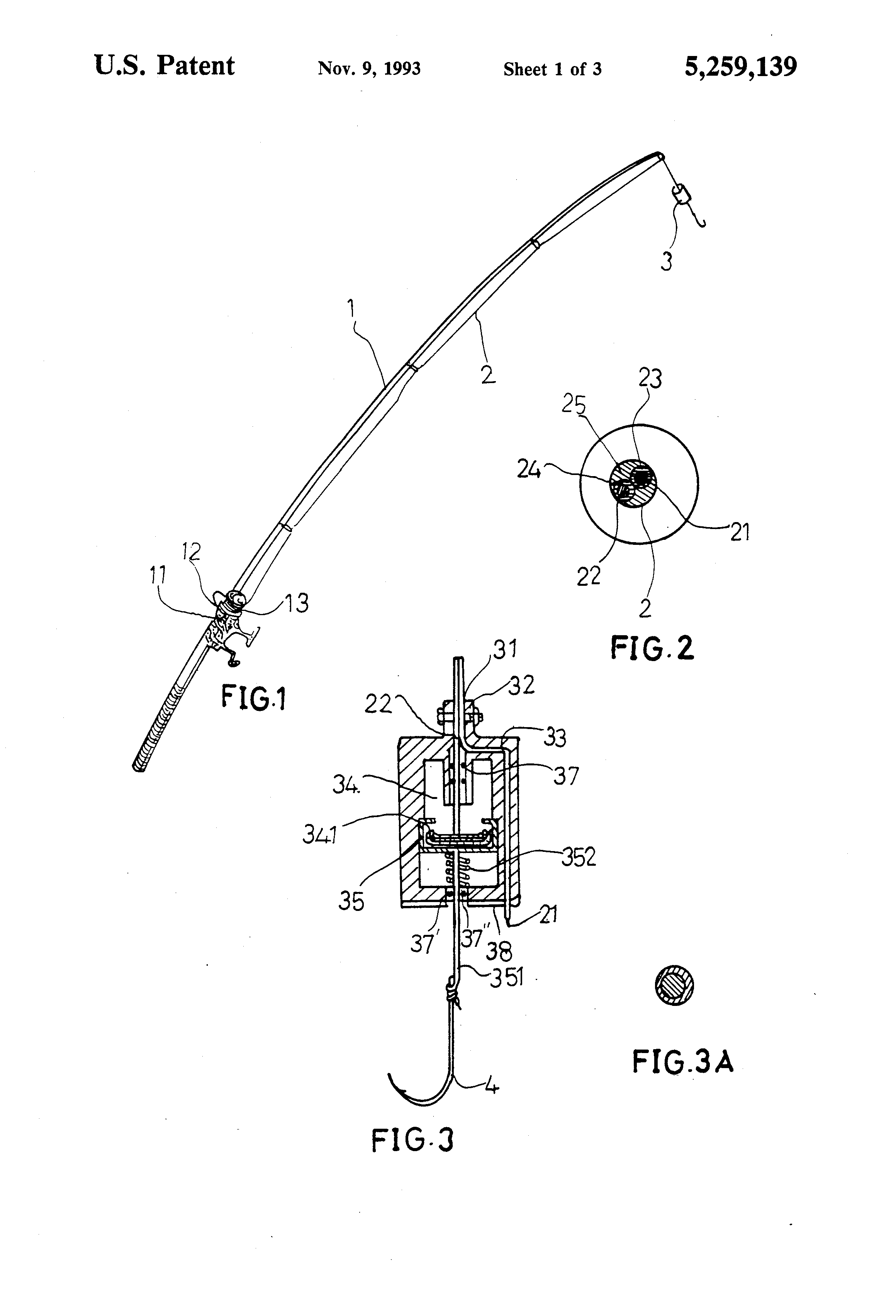 patent us5259139 - electric shock type fishing tackle