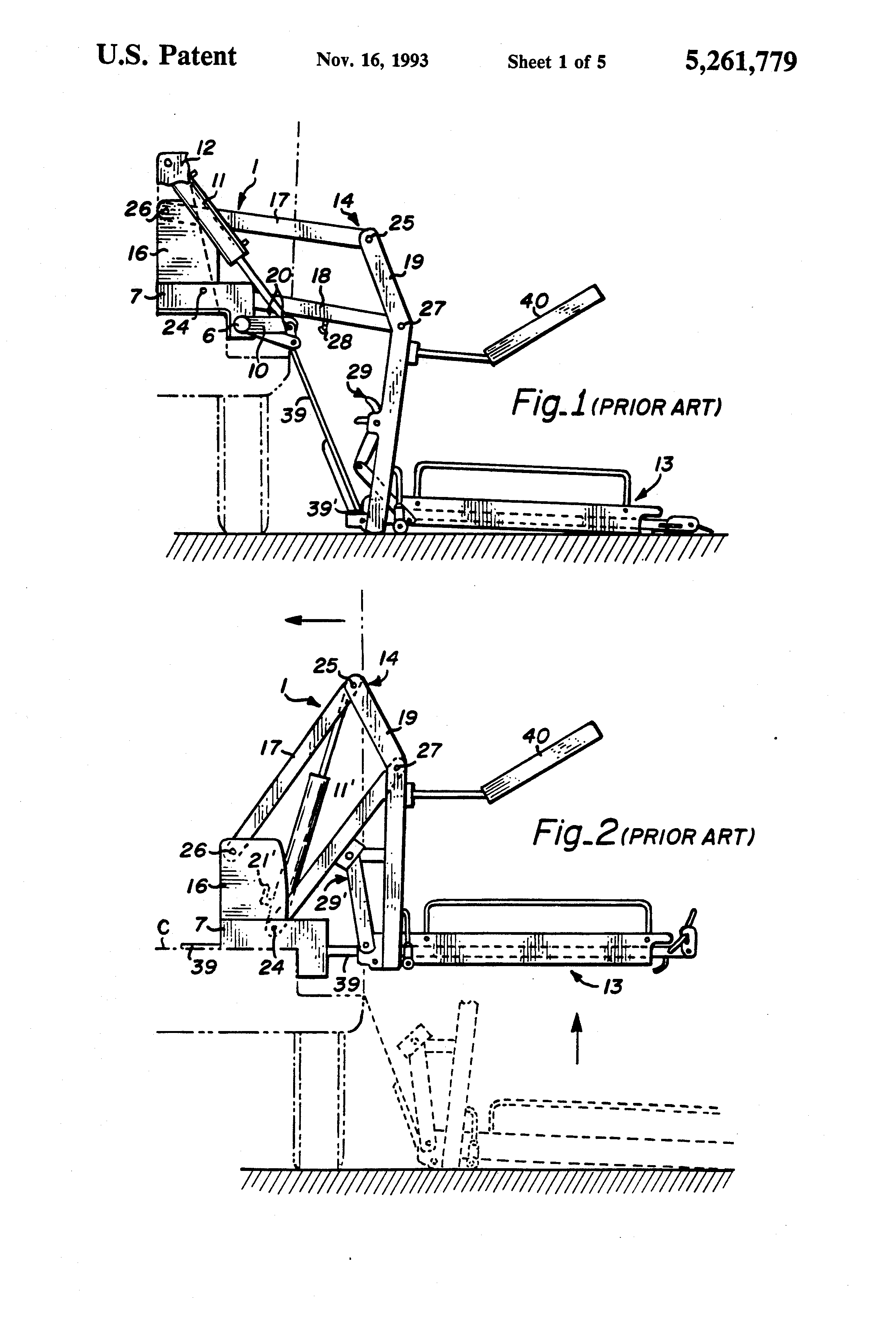 US5261779 1 patent us5261779 dual hydraulic, parallelogram arm wheelchair ricon s series lift wiring diagram at crackthecode.co