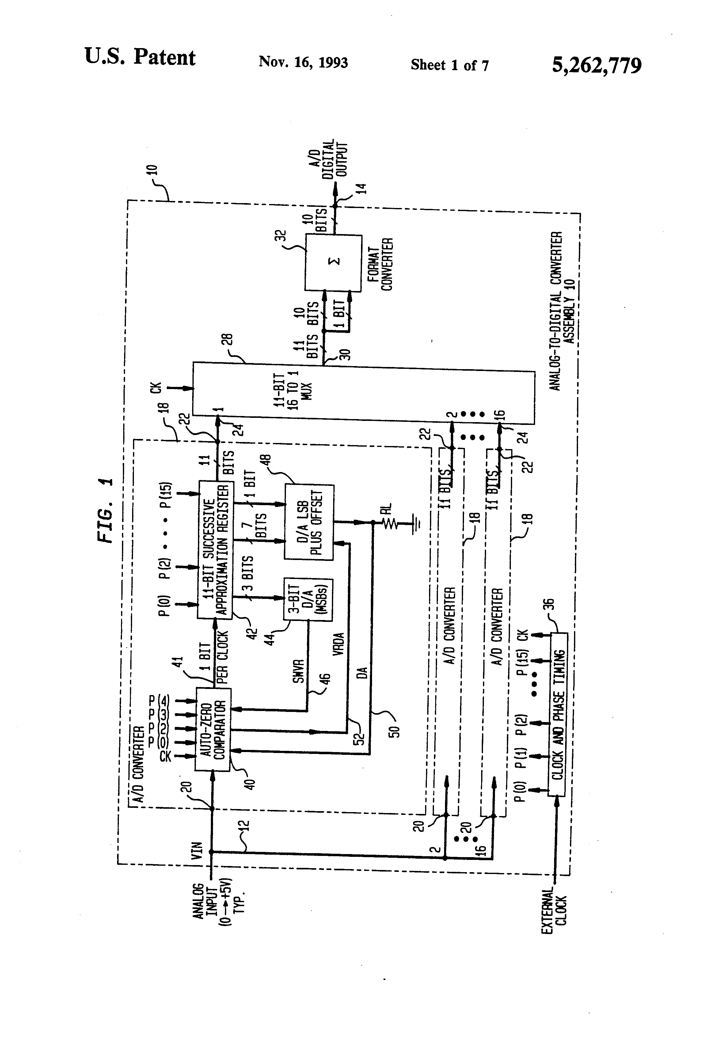 patent us5262779 - analog to digital converter