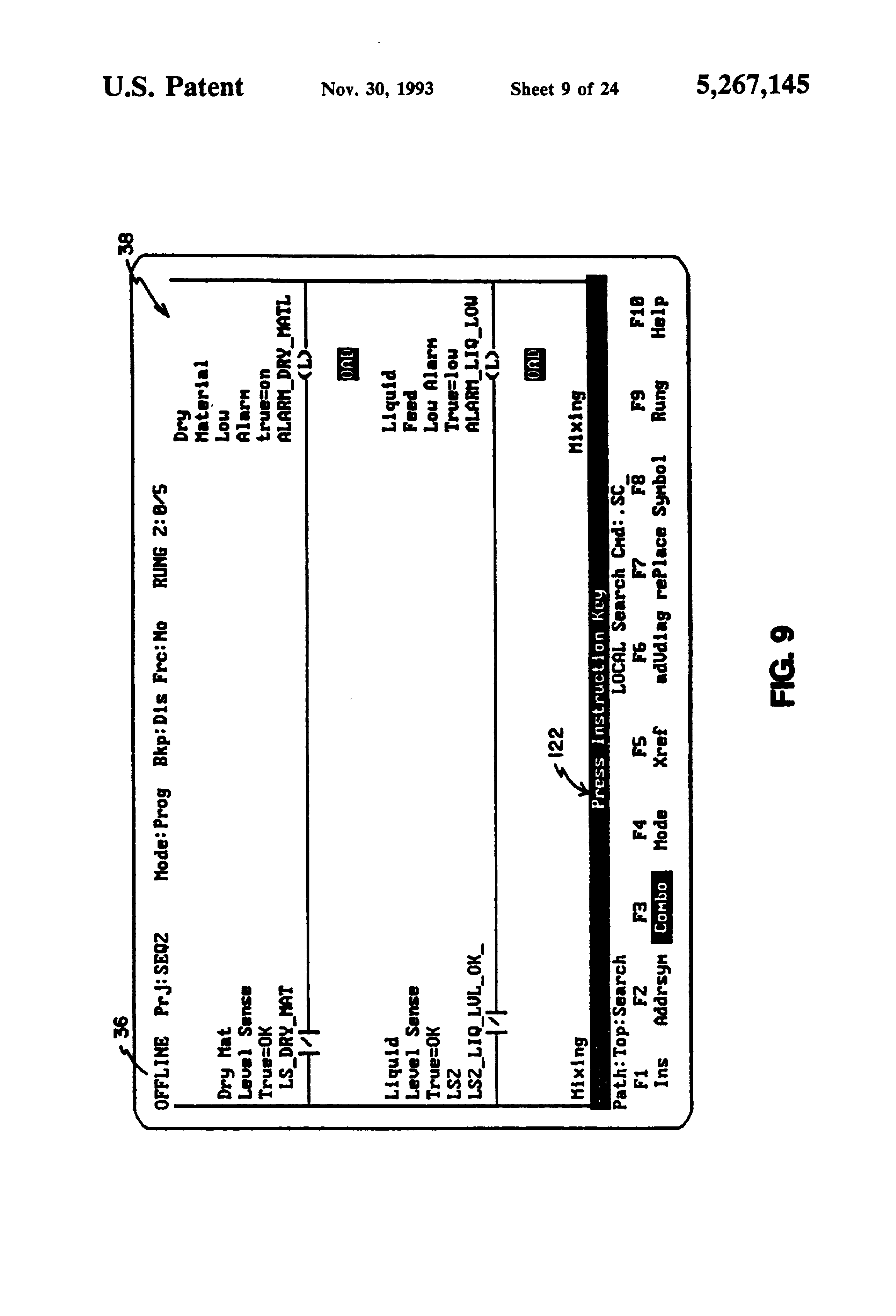 Patent Us5267145 Method And Apparatus For Program Navigation A Ladder Logic Diagram Drawing