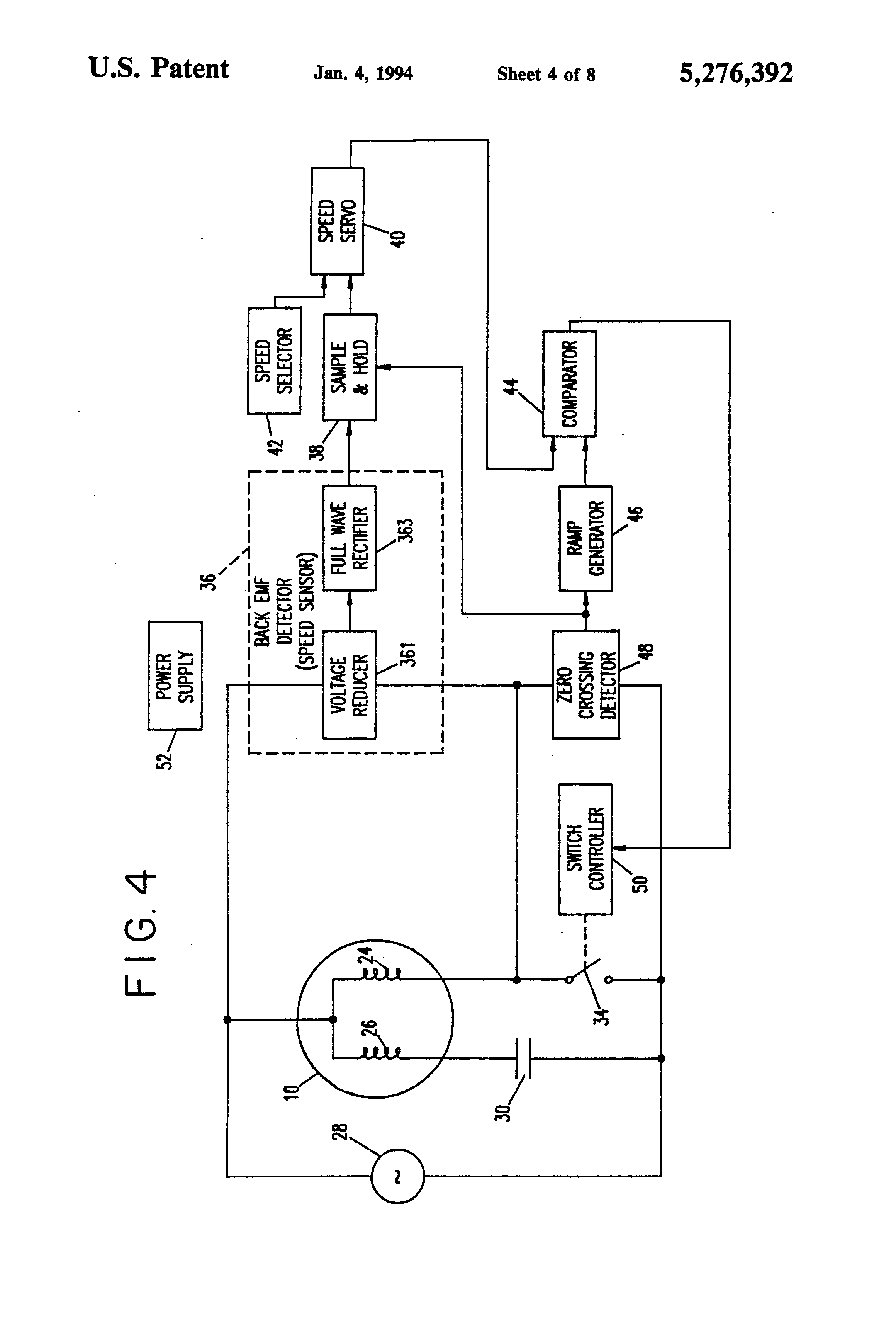 Patent us5276392 single phase ac motor speed control for Single phase ac motor control