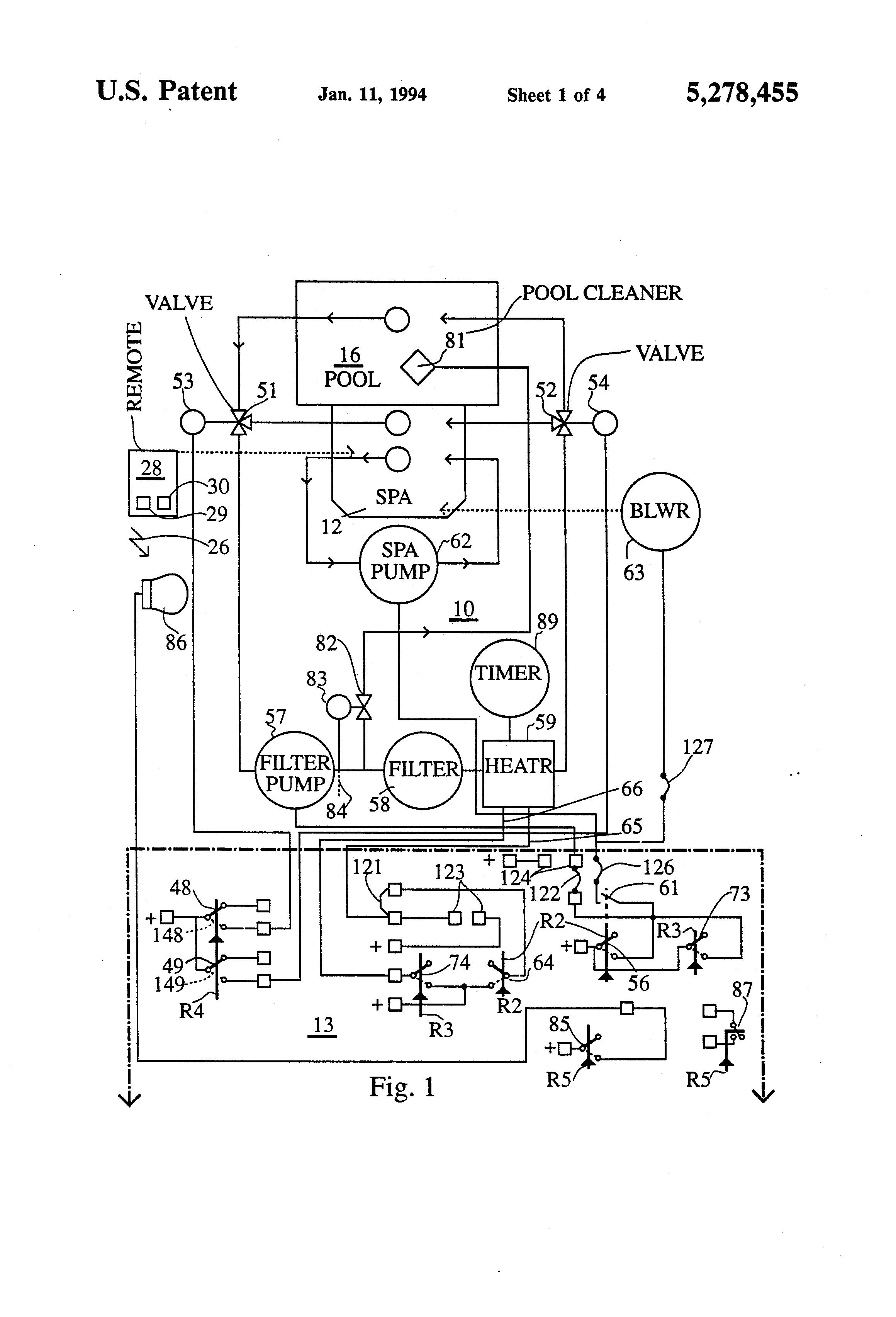 US5278455 1 patent us5278455 spa and pool pump and heater control google thermospa wiring diagram at crackthecode.co