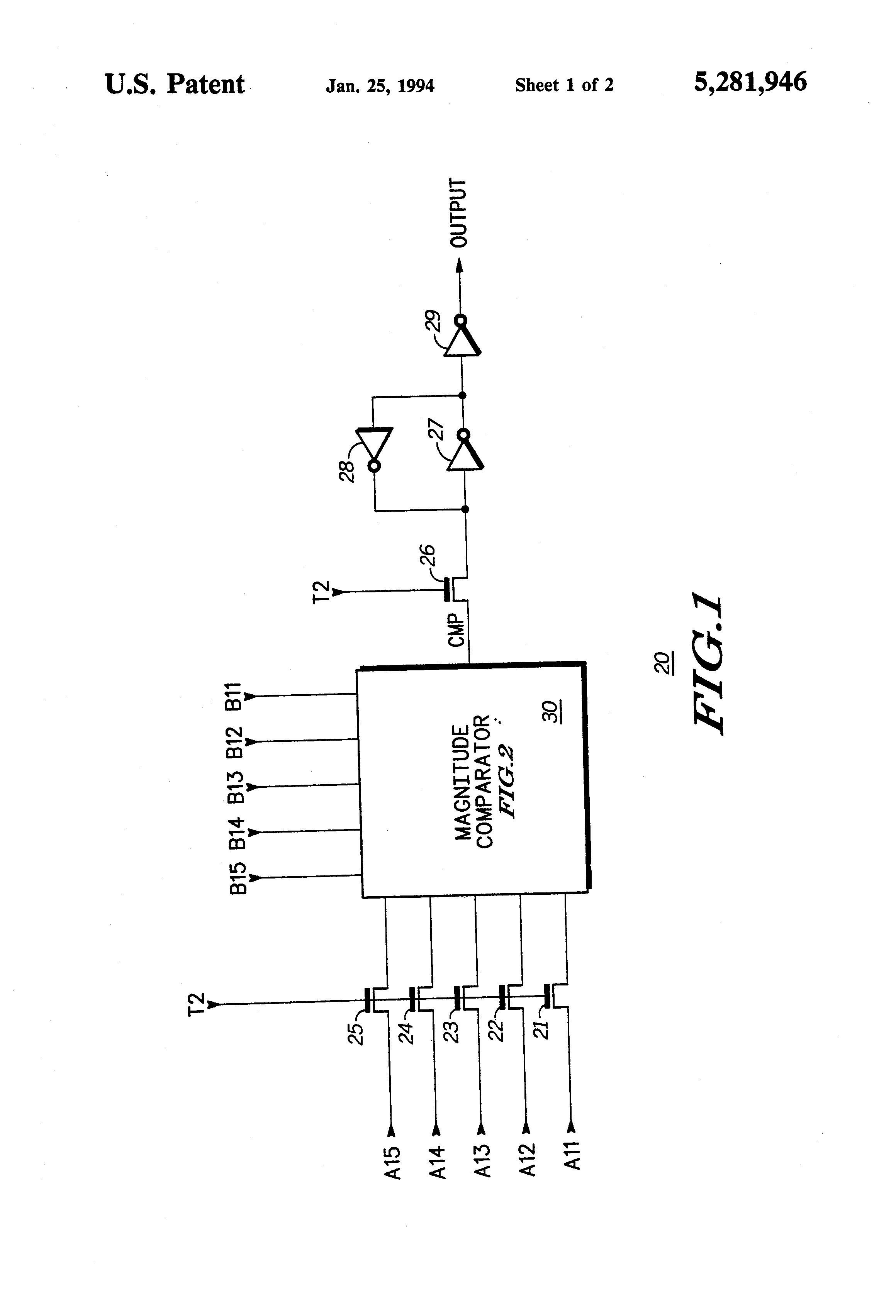 Patent Us5281946 High Speed Magnitude Comparator Circuit Google Diagram Of 4 Bit Drawing