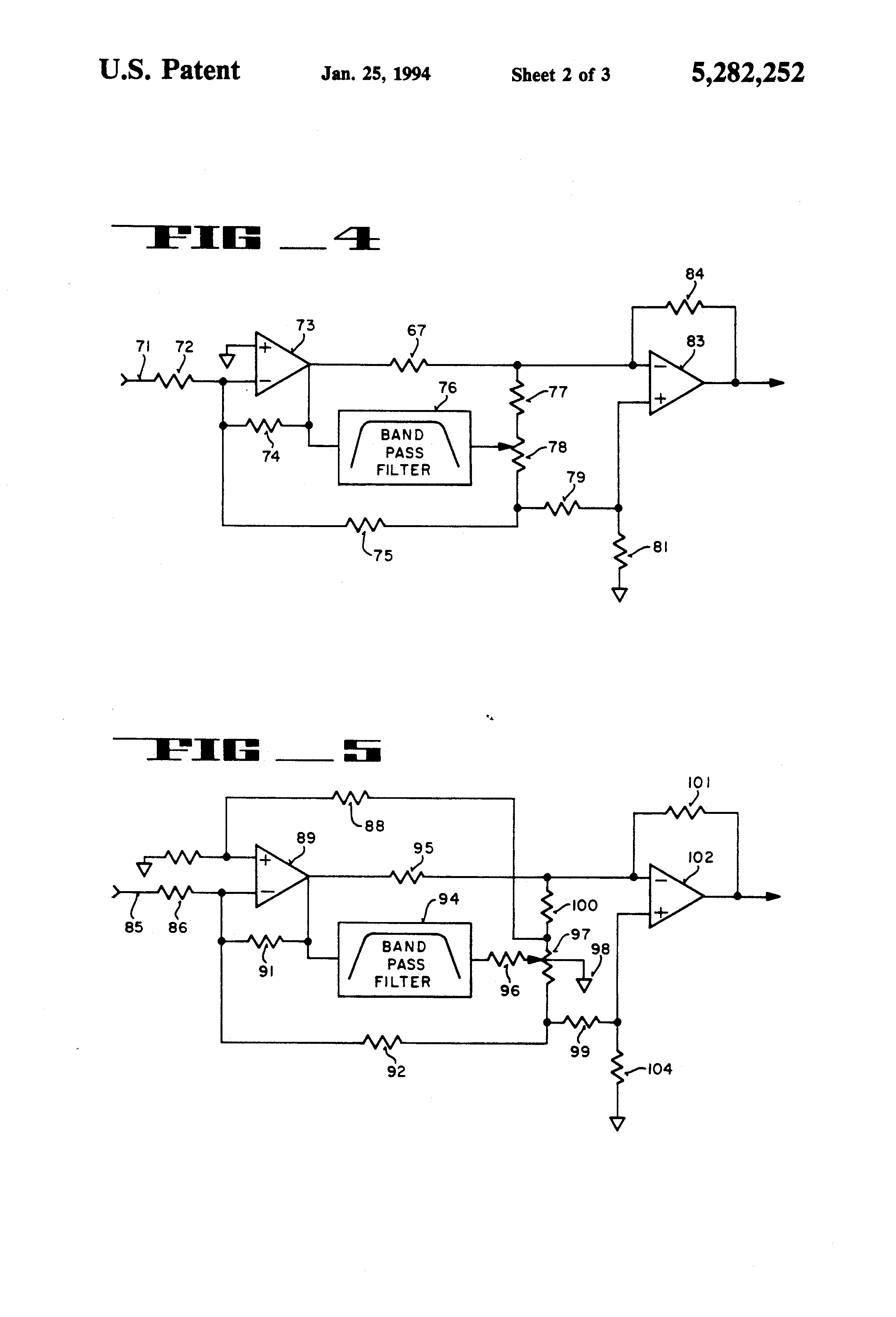 Patent Us5282252 Audio Equalizer Providing Reciprocal Equalization Band Graphic Circuit As Well 4 Schematic In Drawing