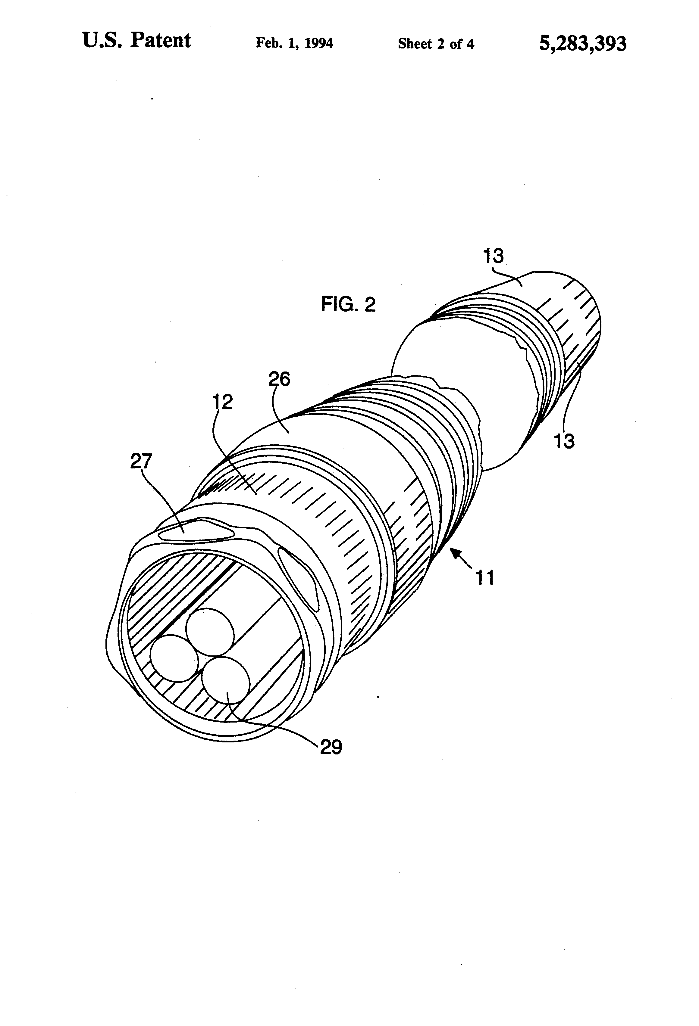 patent us5283393 - armored flexible electrical conduit with fittings