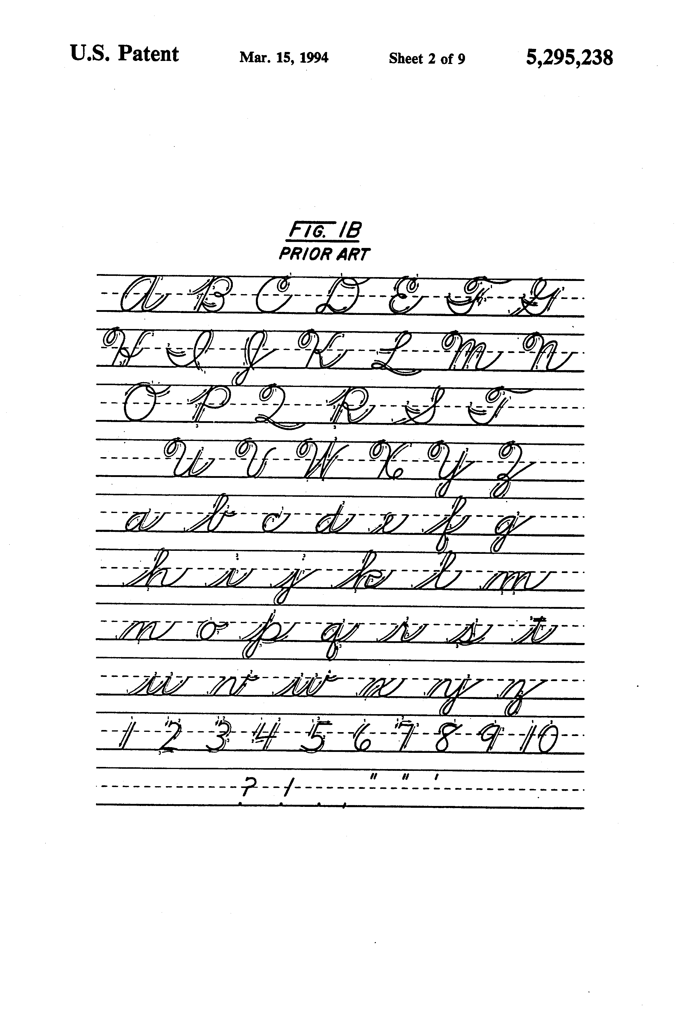 patent us5295238 system method and font for printing cursive