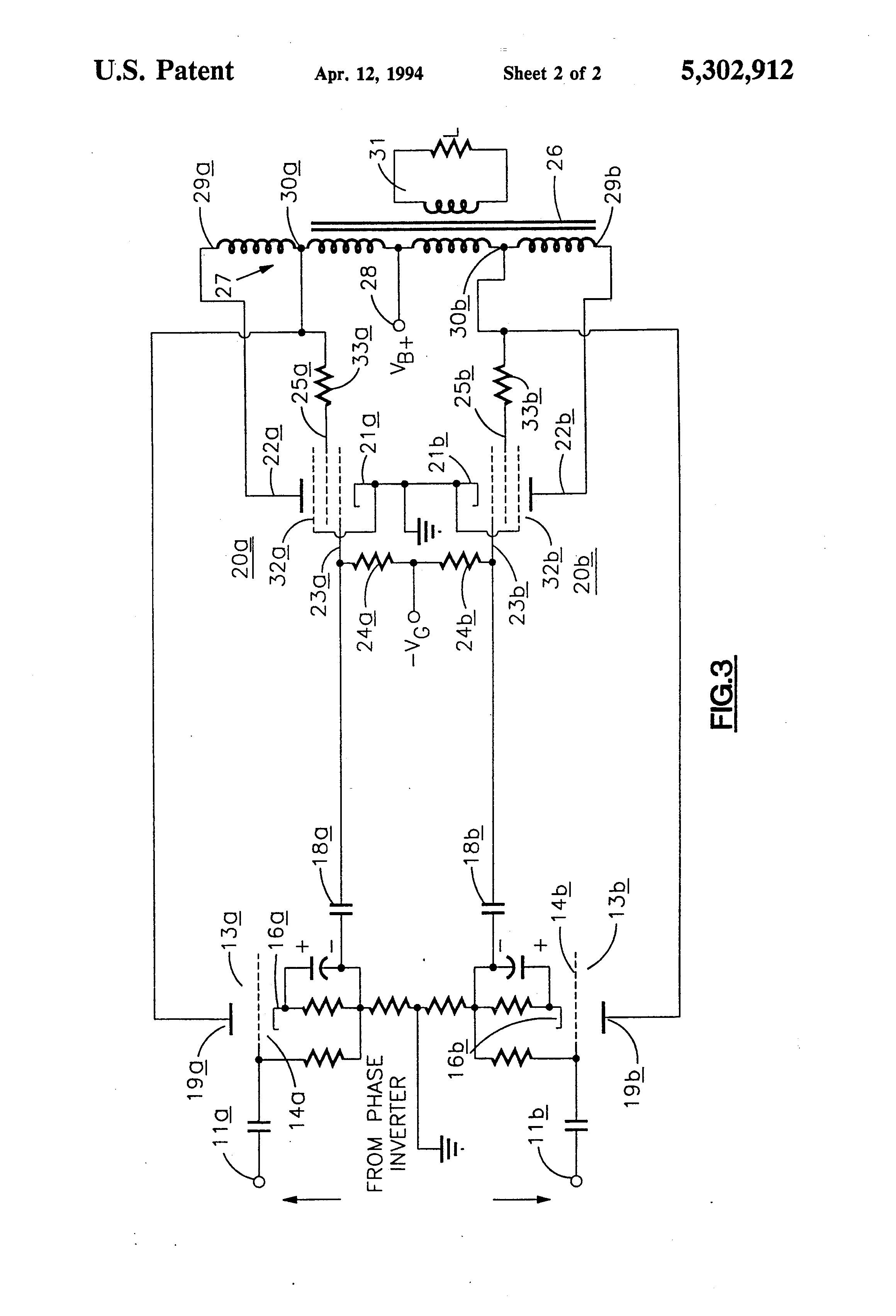 Patent Us5302912 Push Pull Audio Amplifier With Crossover Pushpull Power Circuit Diagrams Free Drawing