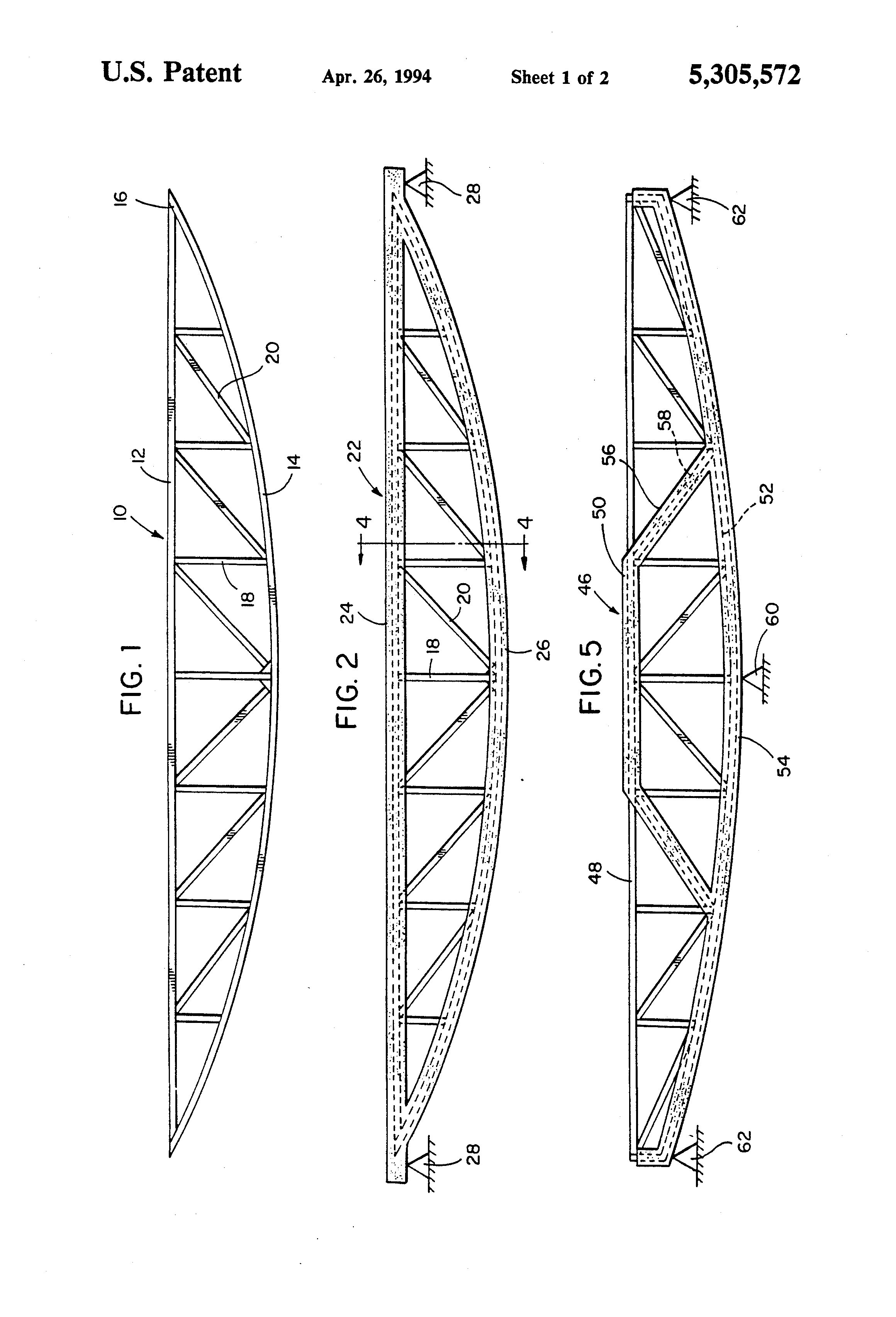 Patent us5305572 long span post tensioned steelconcrete truss patent drawing hexwebz Choice Image