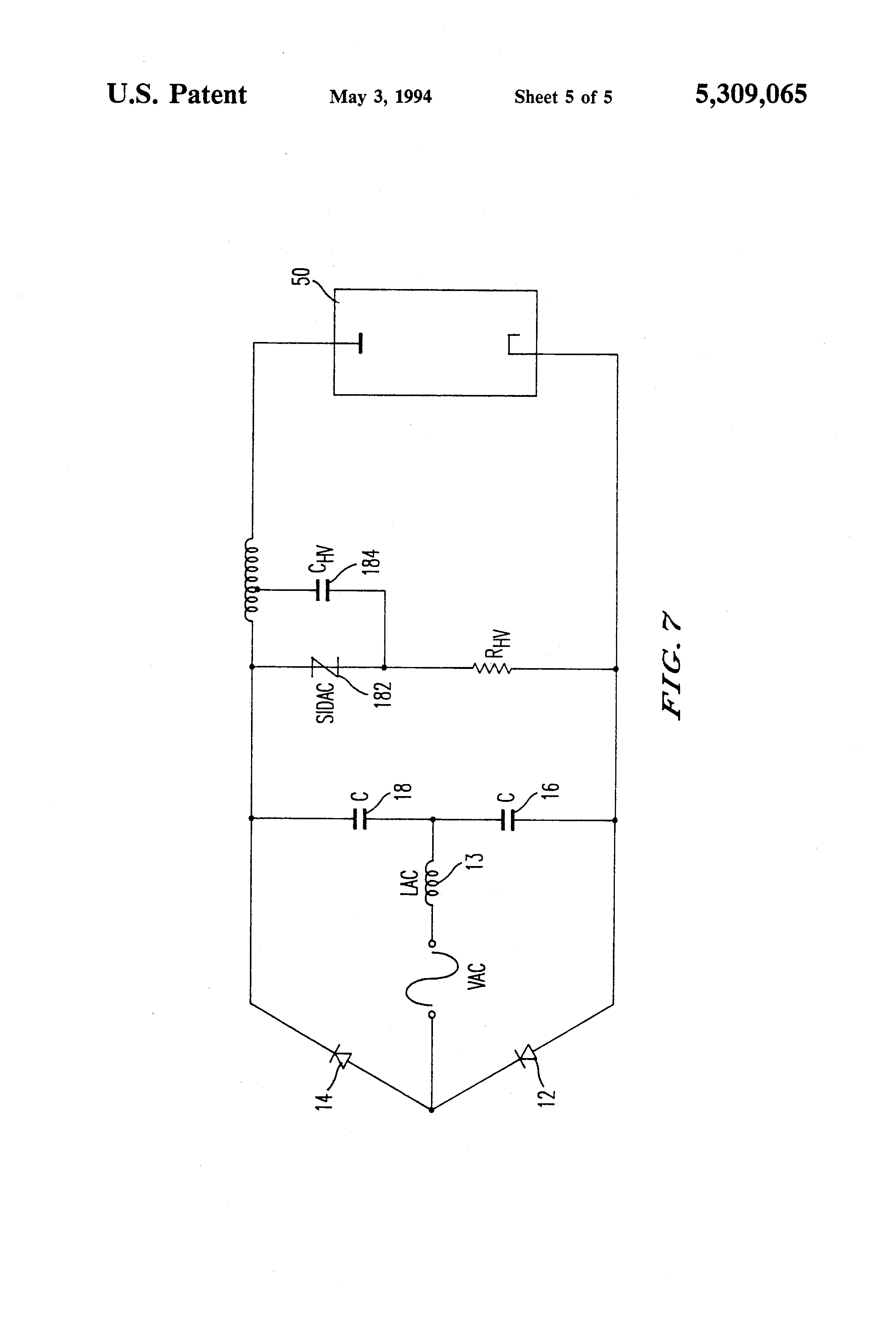 Patent Us5309065 Voltage Doubler Ballast System Employing Resonant Sidac Basic Operation Drawing