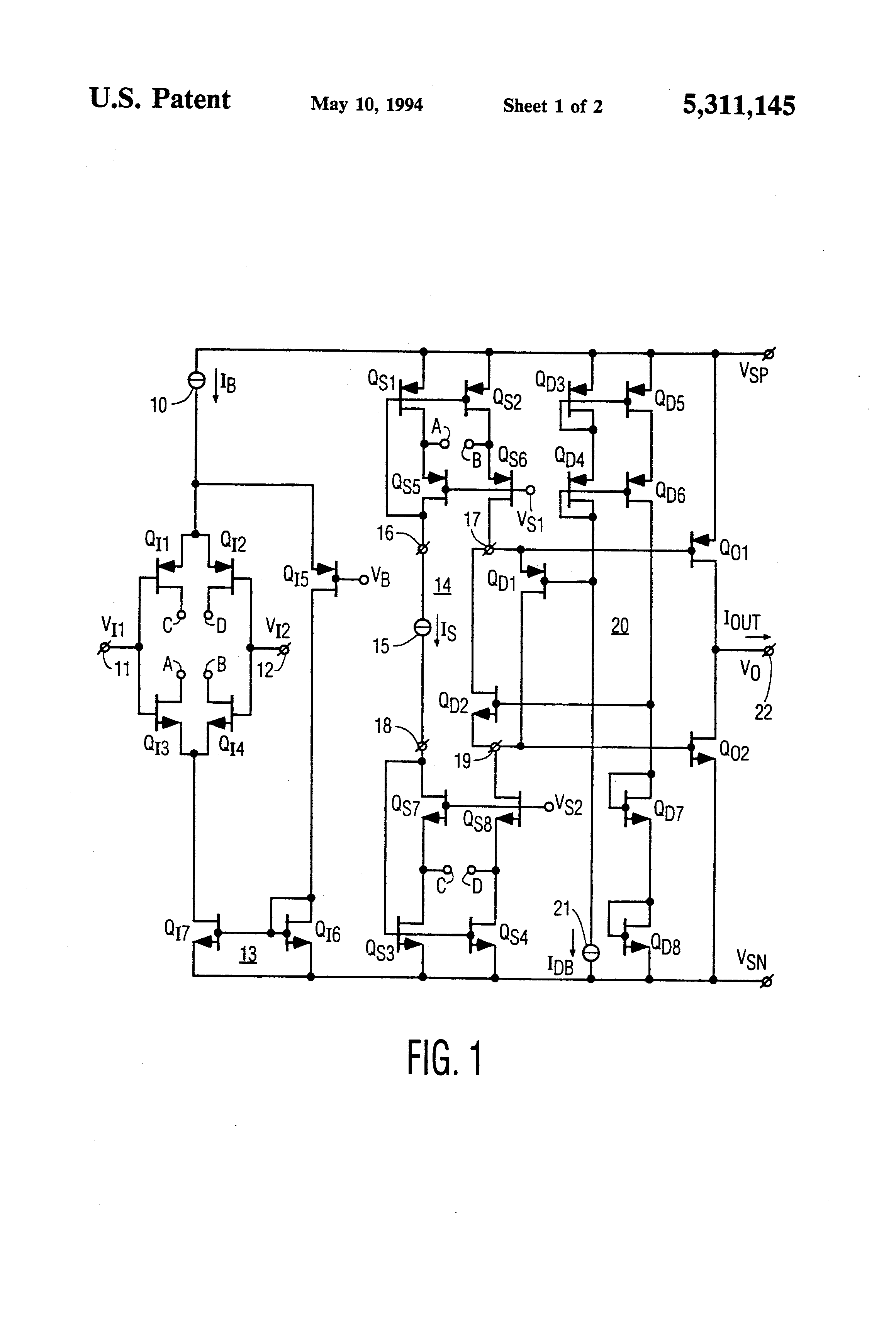patent us5311145 combination driver summing circuit for Differntial Headphone Amplifier Differential Input rail to rail input output operational amplifier