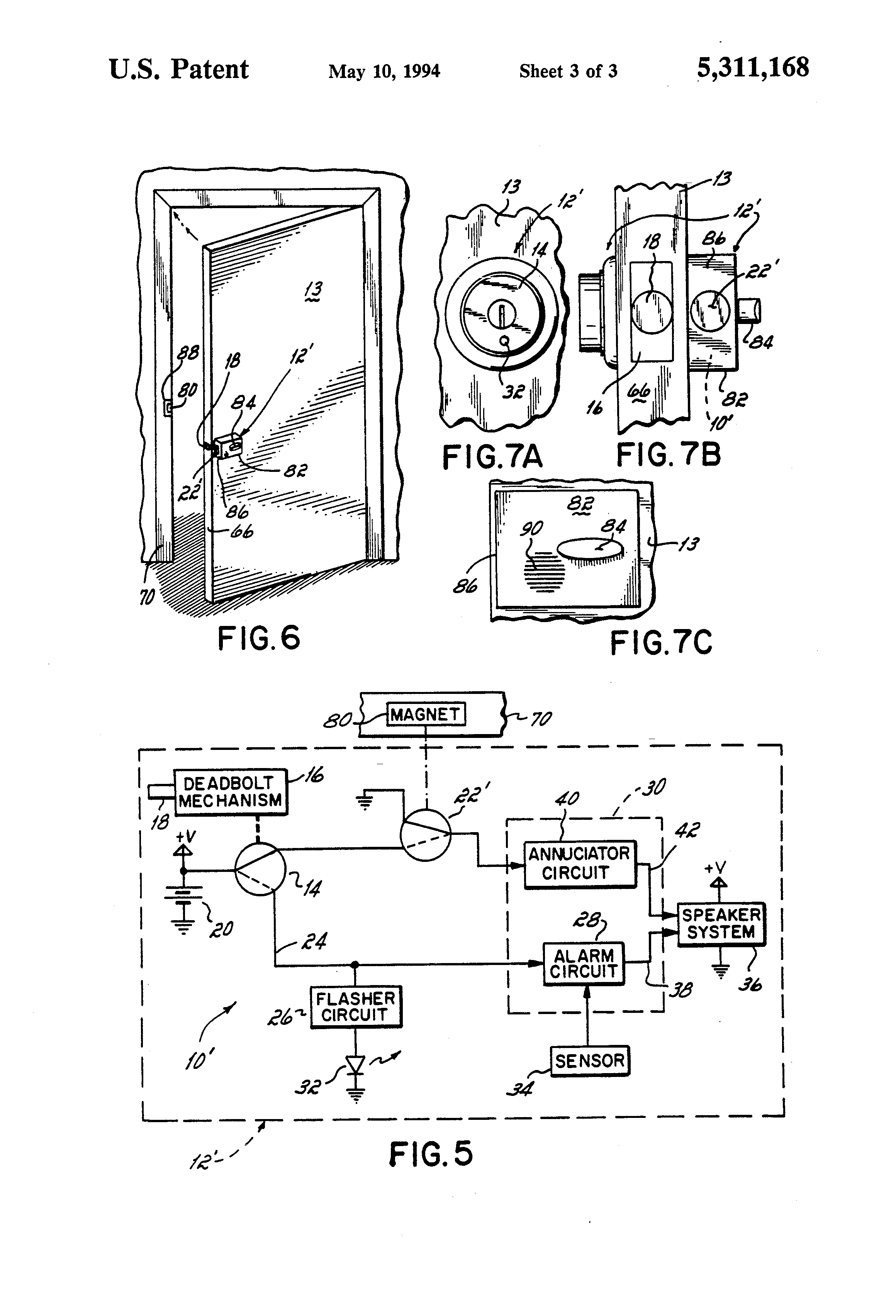 US5311168 4 patent us5311168 lock set with self contained door alarm and  at eliteediting.co