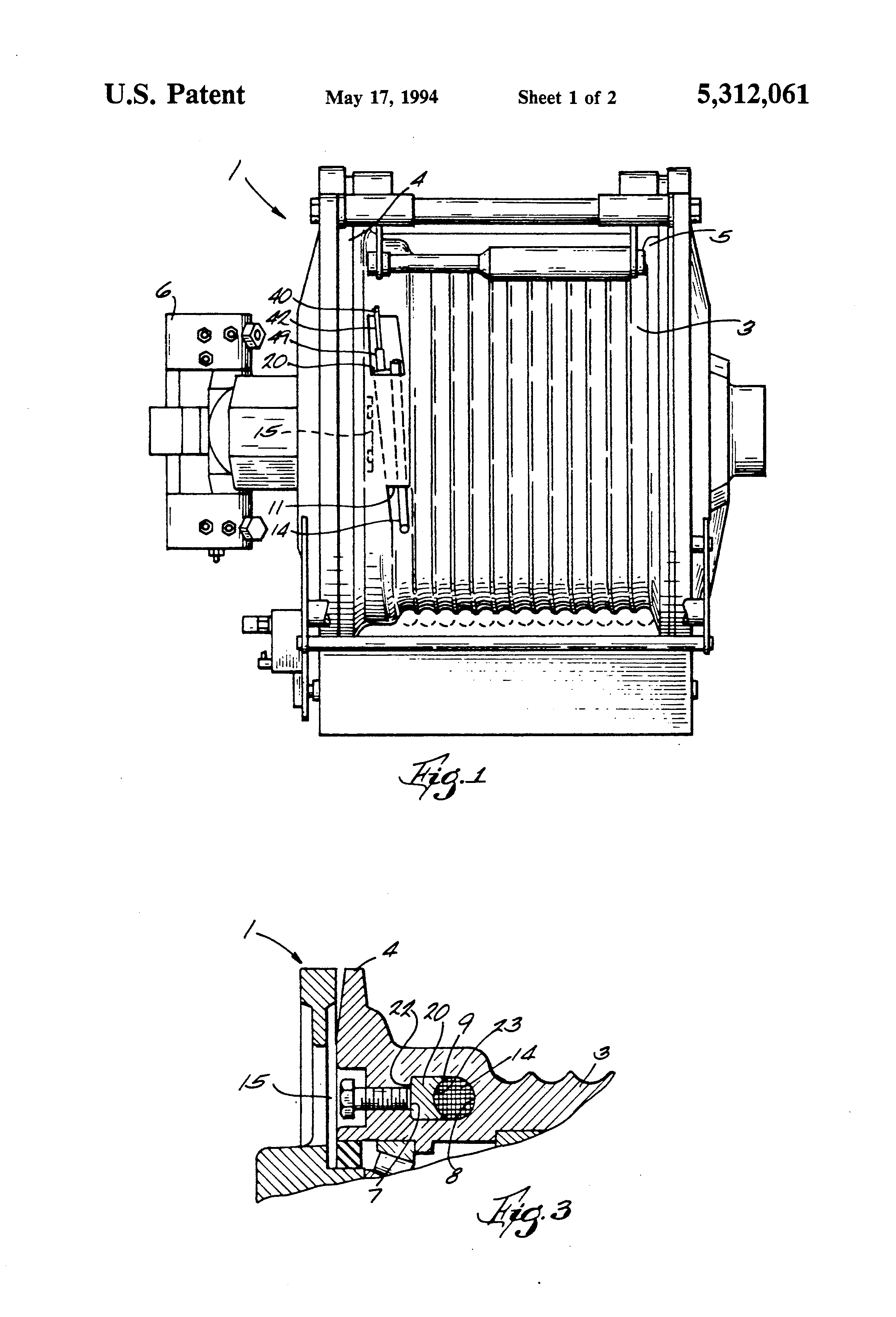 patent us5312061 - clamping mechanism for securing a rope to a winch drum