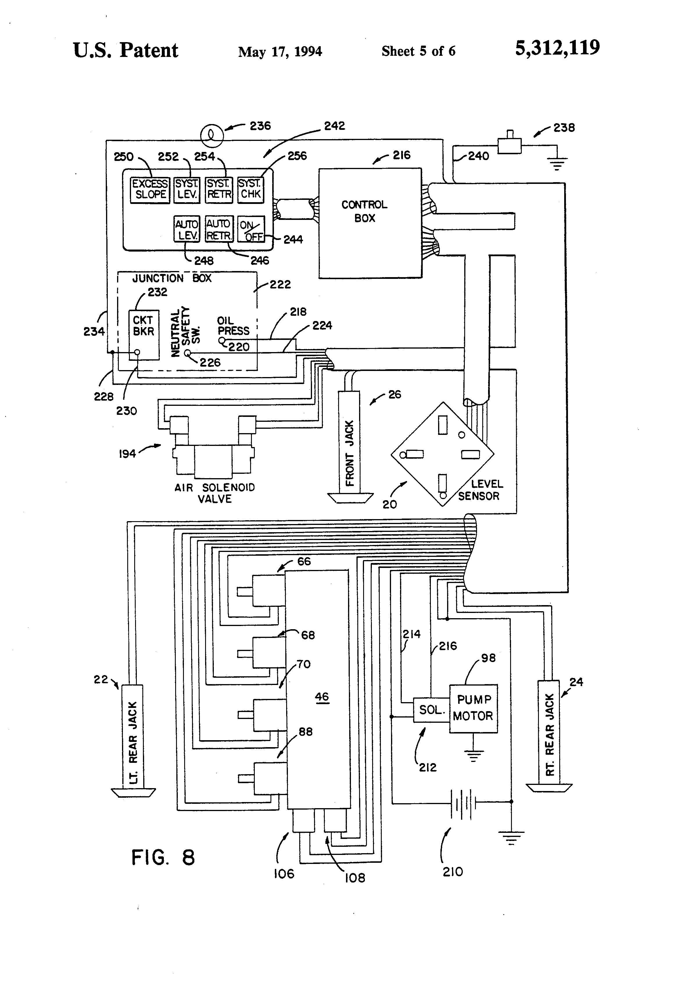 patent us5312119 vehicle leveling system with safety interlock patents