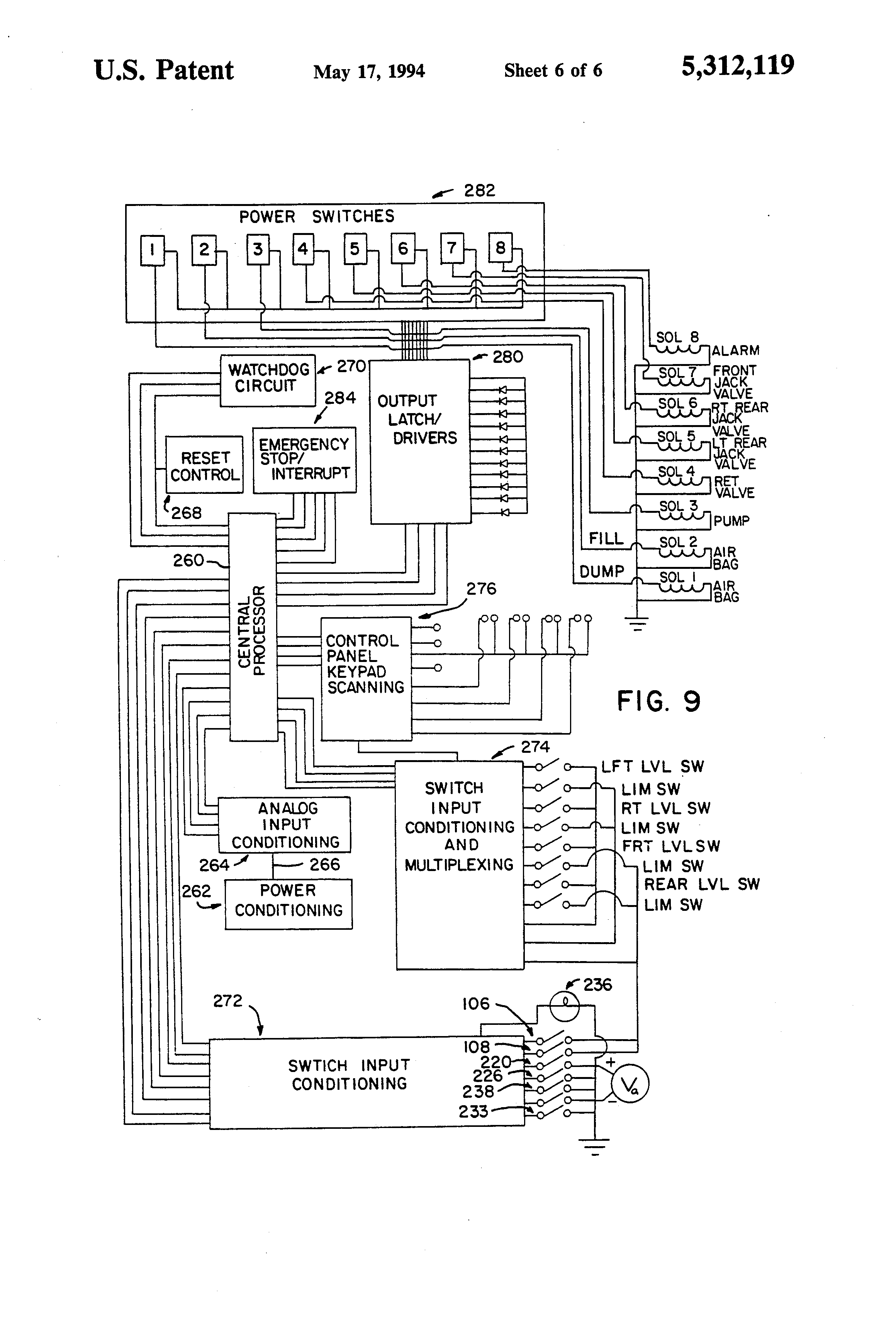 US5312119 6 patent us5312119 vehicle leveling system with safety interlock kwikee level best wiring schematic at aneh.co