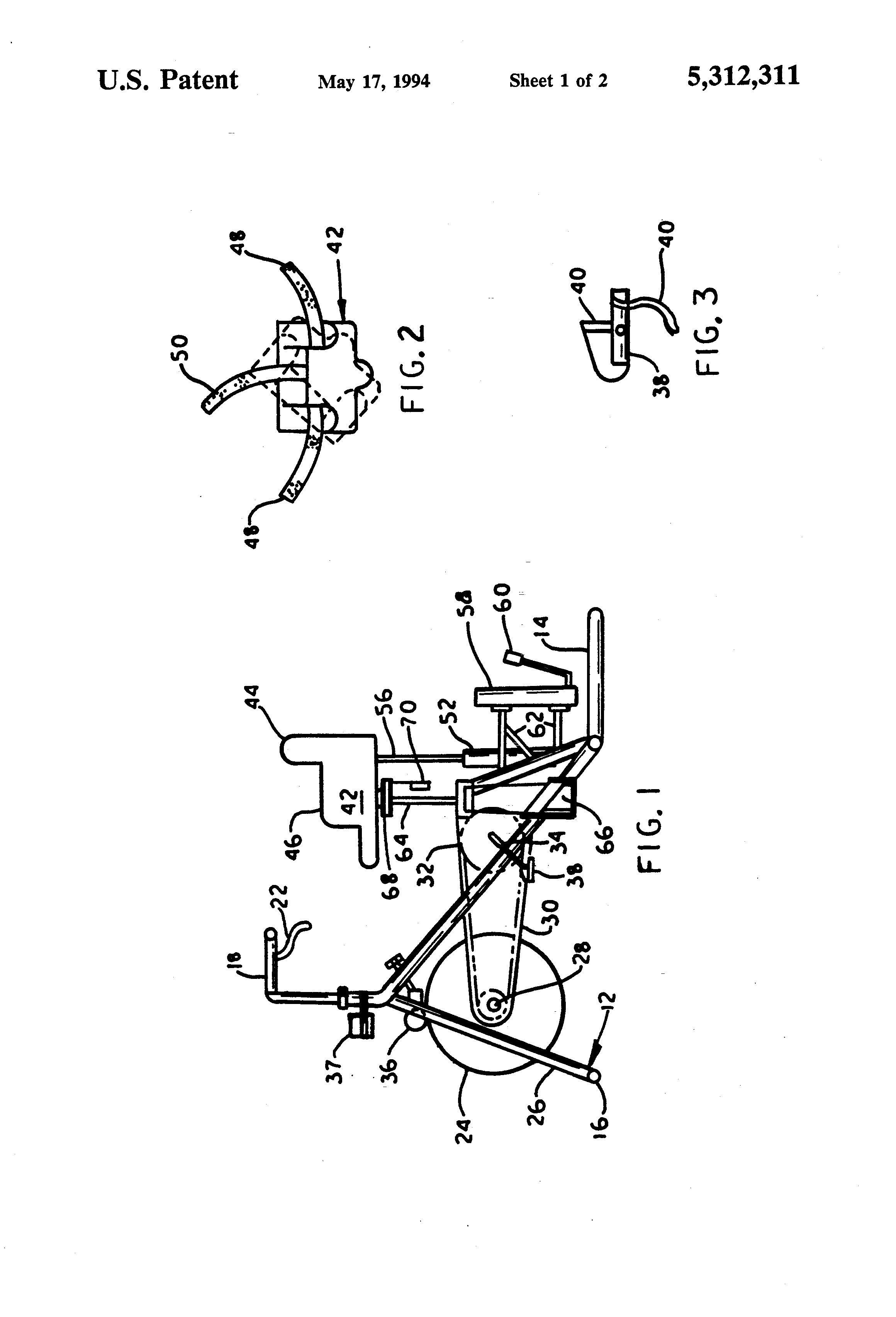 patent us5312311 - exercise bicycle