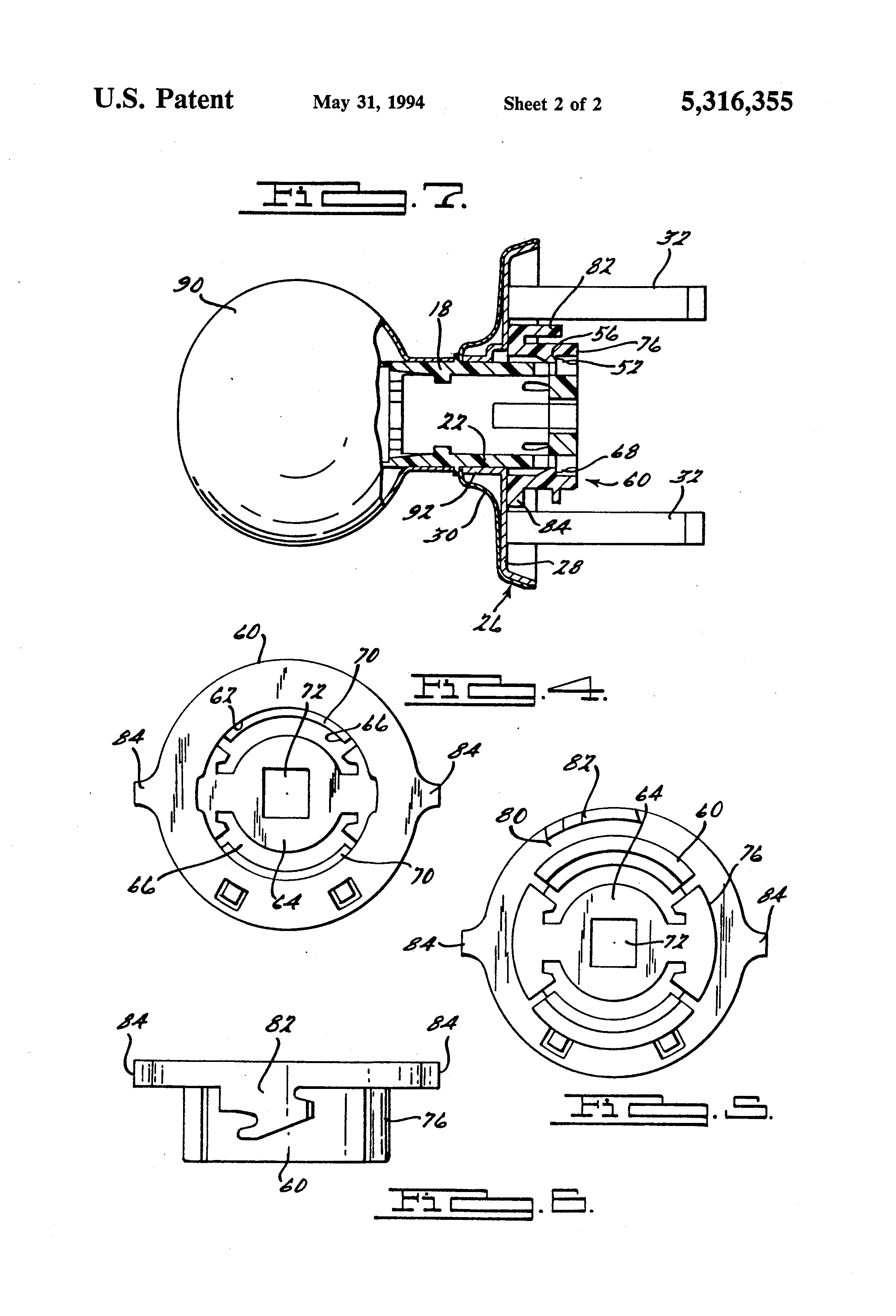 Patent Us5316355 Integral Door Knob Assembly With Spring