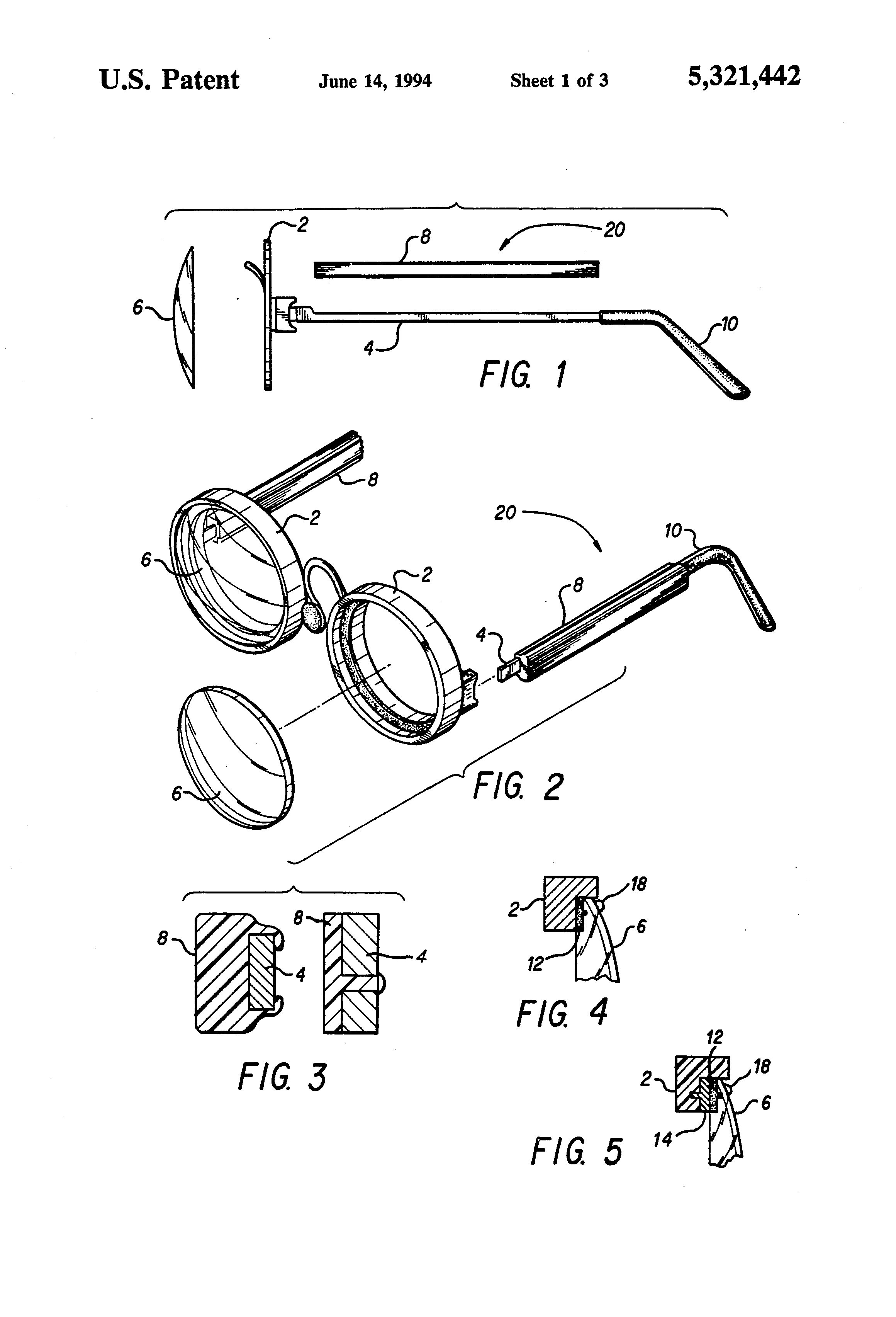 Patent US5321442 - Eyeglasses with detachable lenses ...