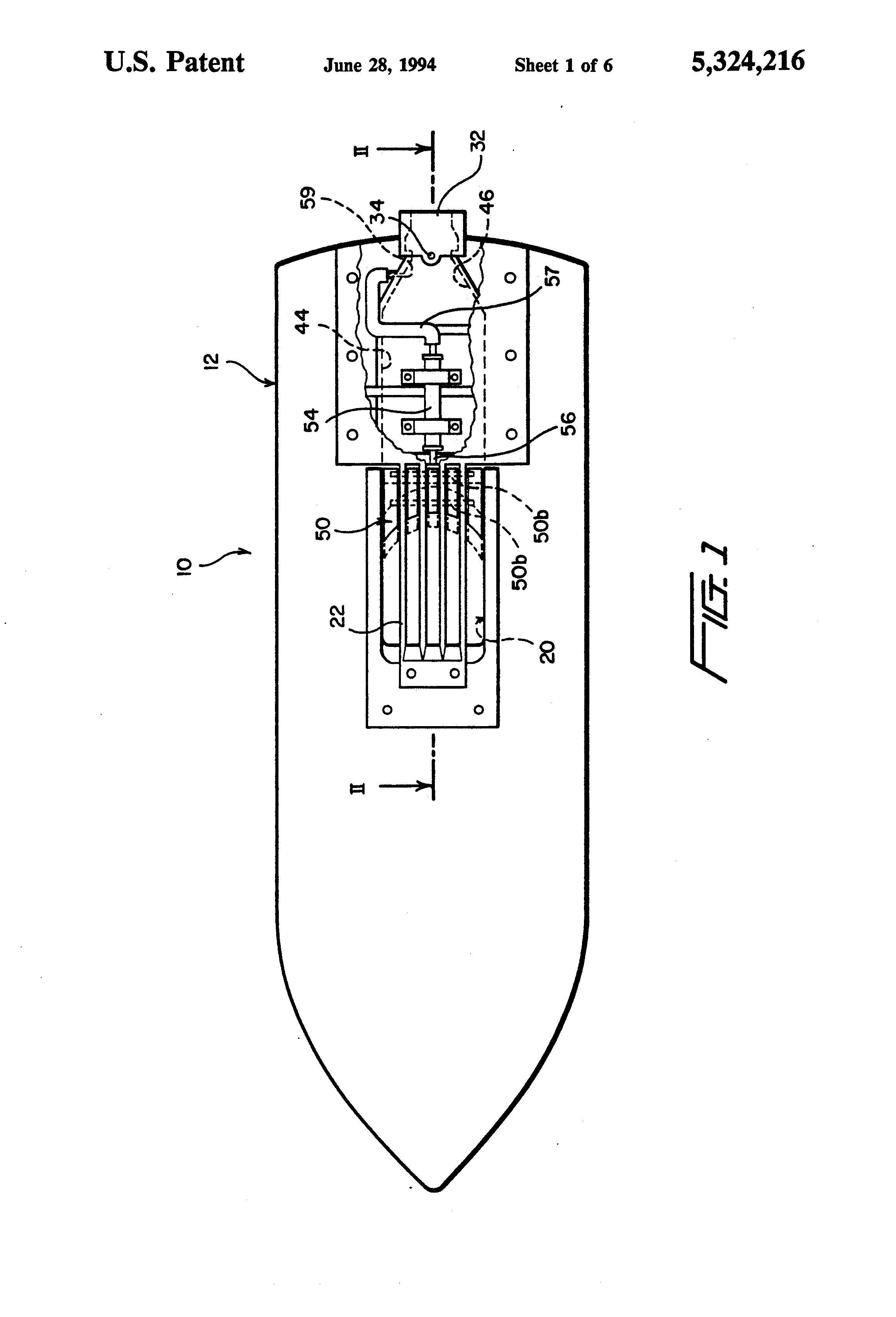 patent us5324216 - jet pump system for a water jet propelled boat