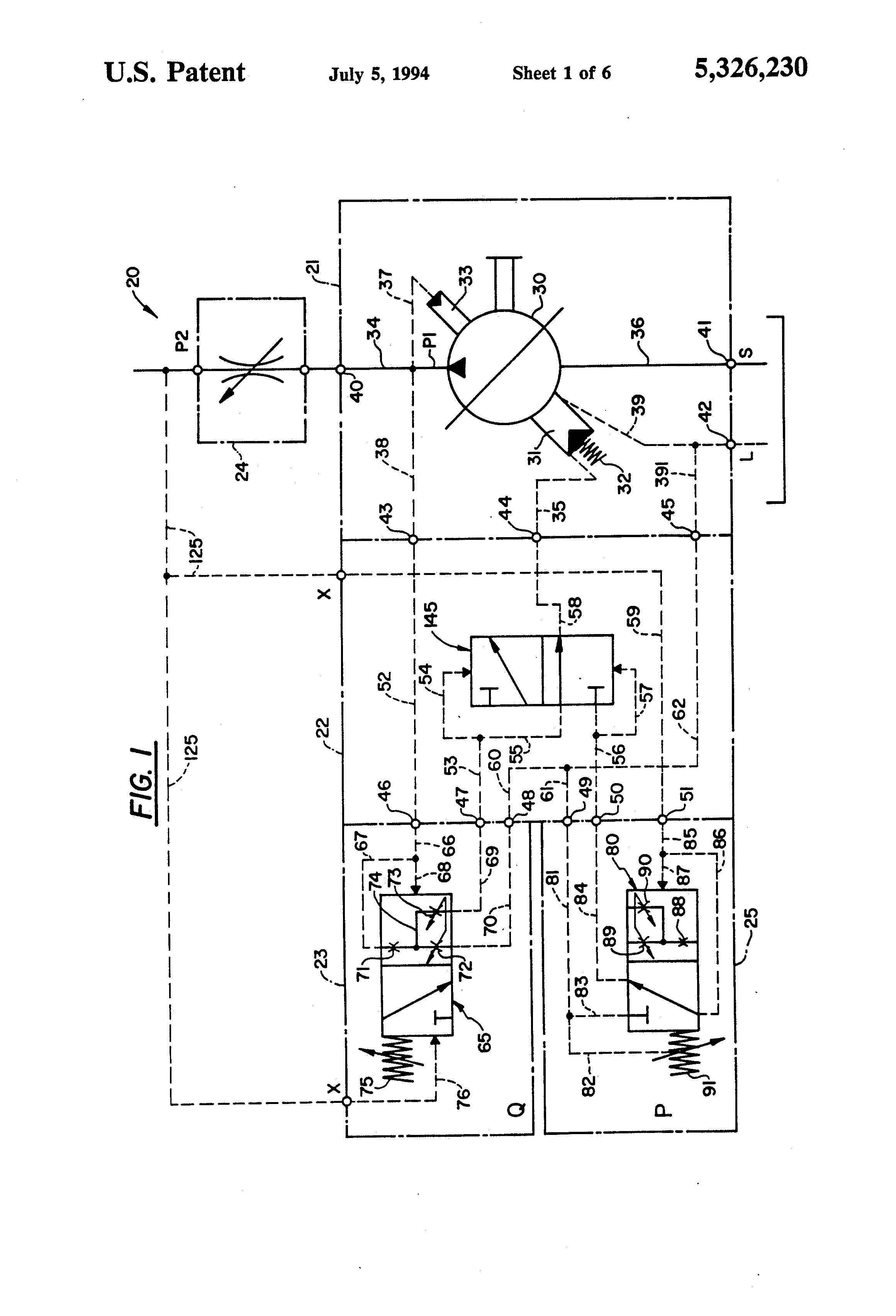 patent us5326230 - closed loop control circuit for variable hydraulic pump