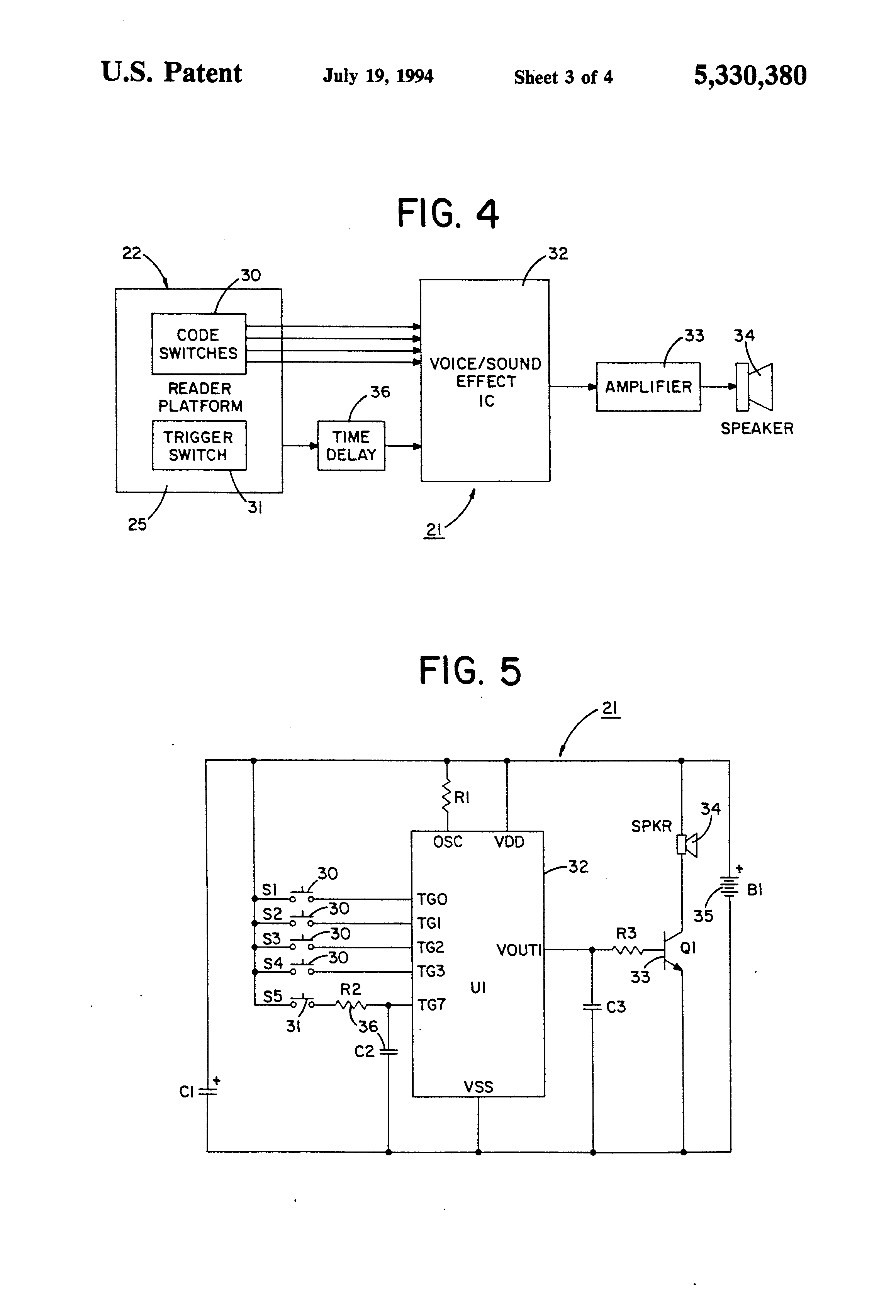 Patent Us5330380 Audible Message Information Delivery System Binary Code On Circuit Board Drawing