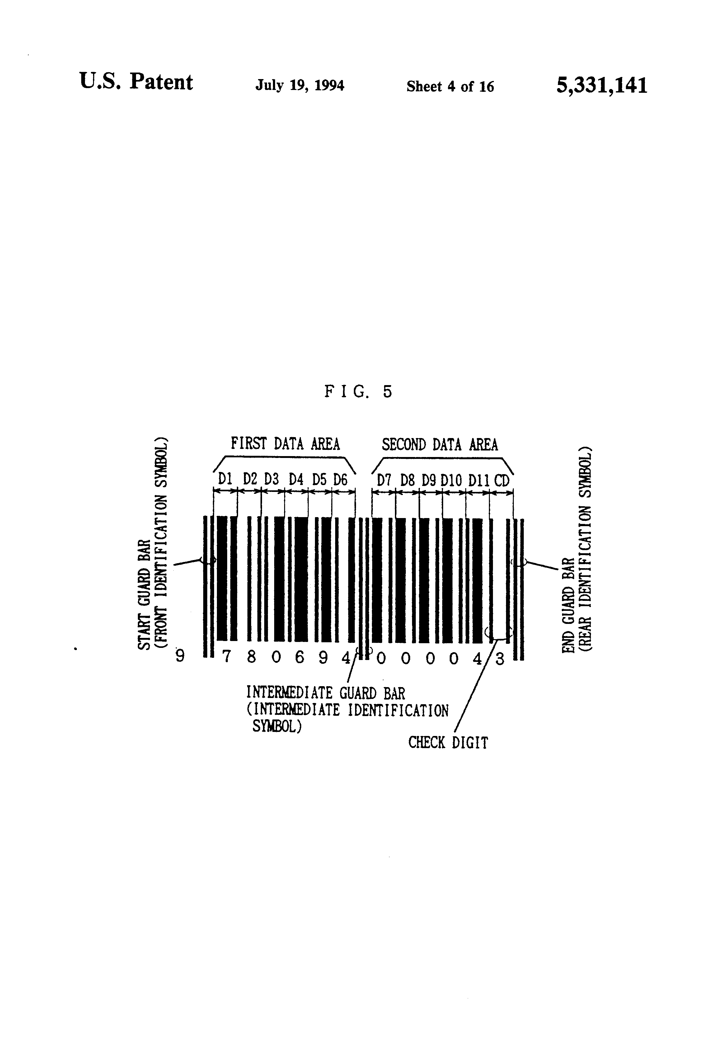 Patent US5331141 Bar code reader and game set using the same