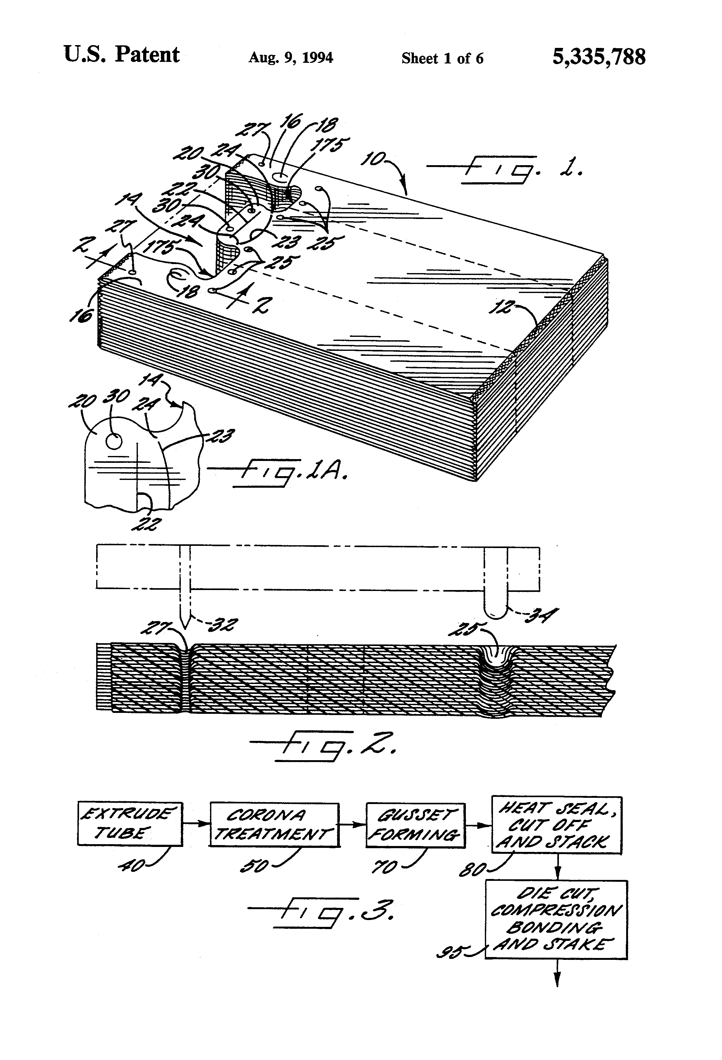 Patent Us5335788 Self Opening Polyethylene Bag Stack And