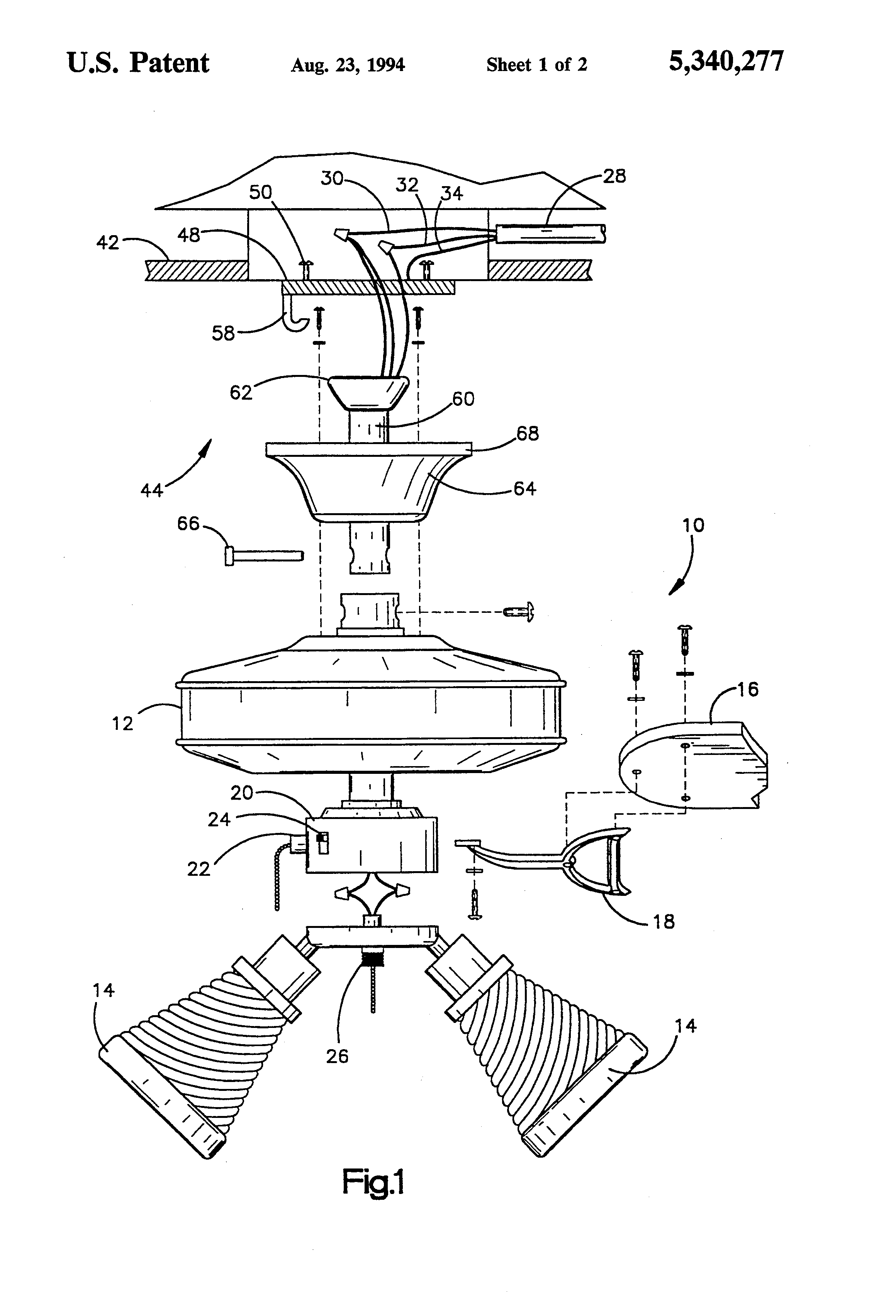 patent us5340277 - controller for remote control ceiling fan