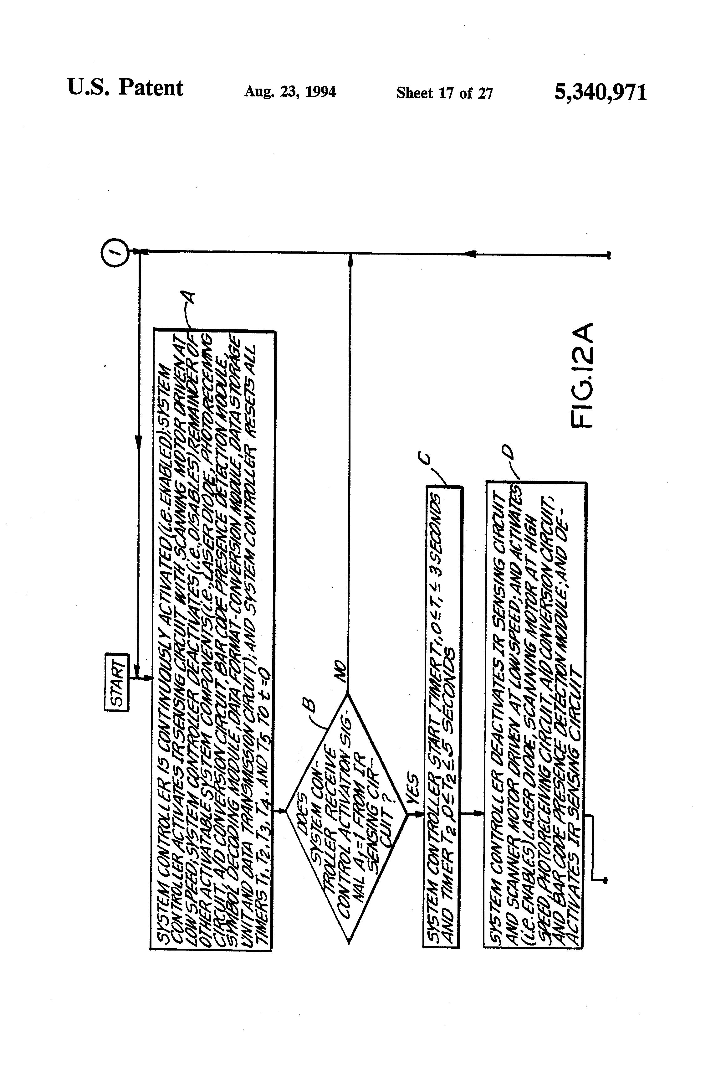 Patent Us5340971 Automatic Bar Code Reading System Having Ir Sensor Circuit Detector Drawing
