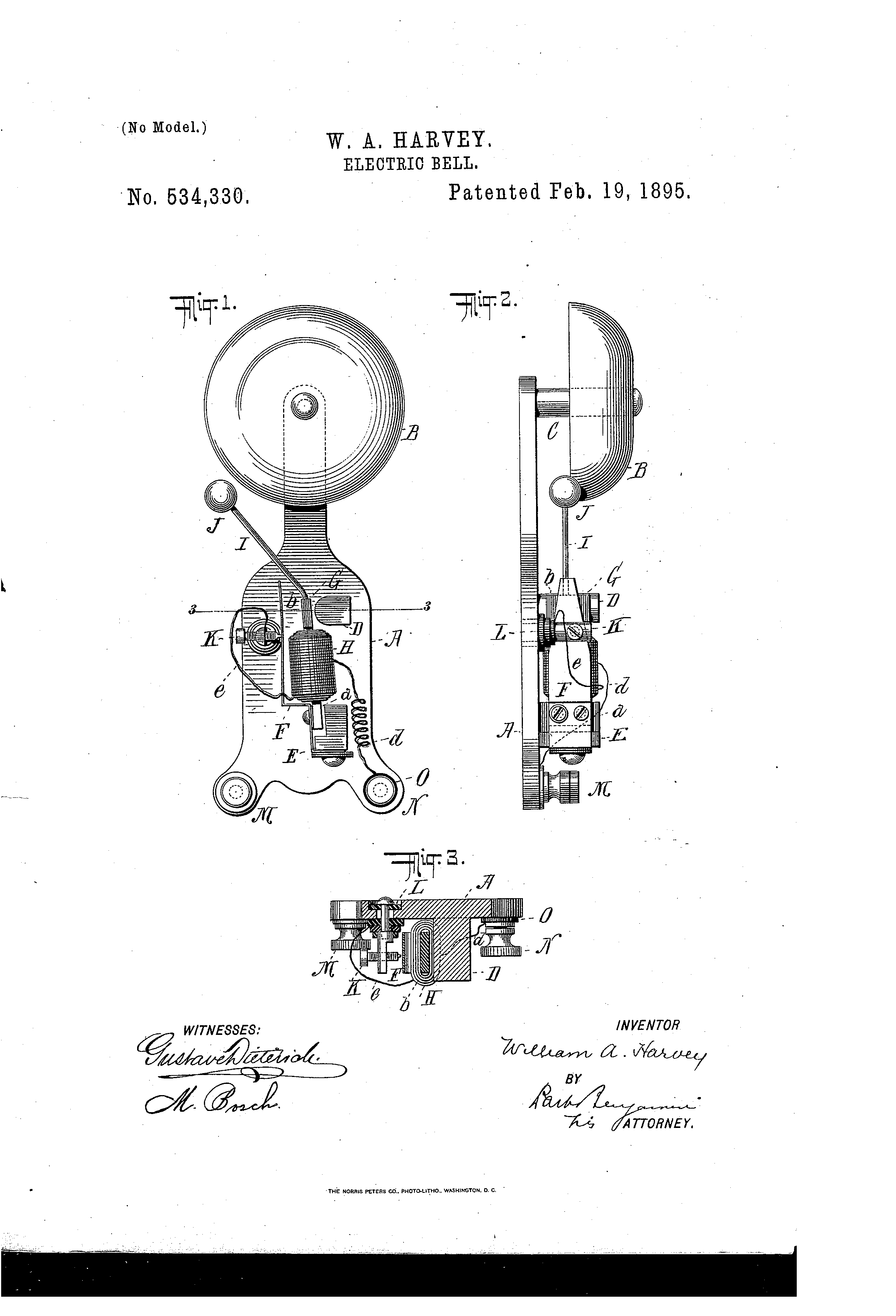 patent us534330 - electric bell