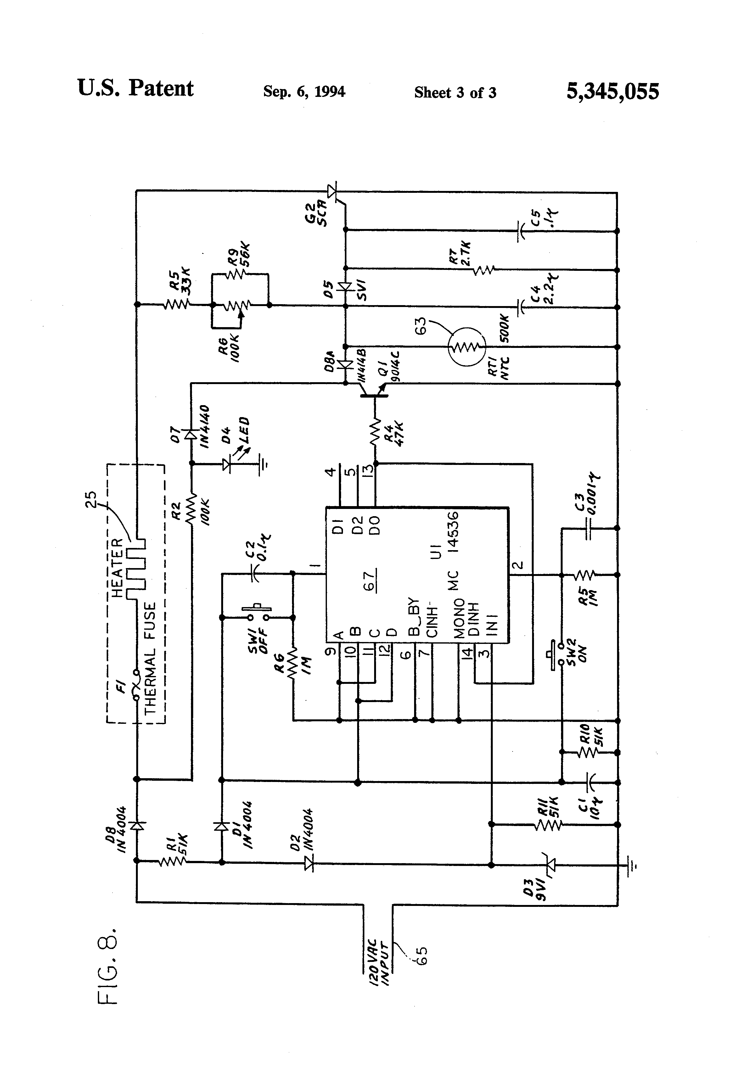 US5345055 3 patent us5345055 fast heating curling iron and control circuit thermospa wiring diagram at crackthecode.co