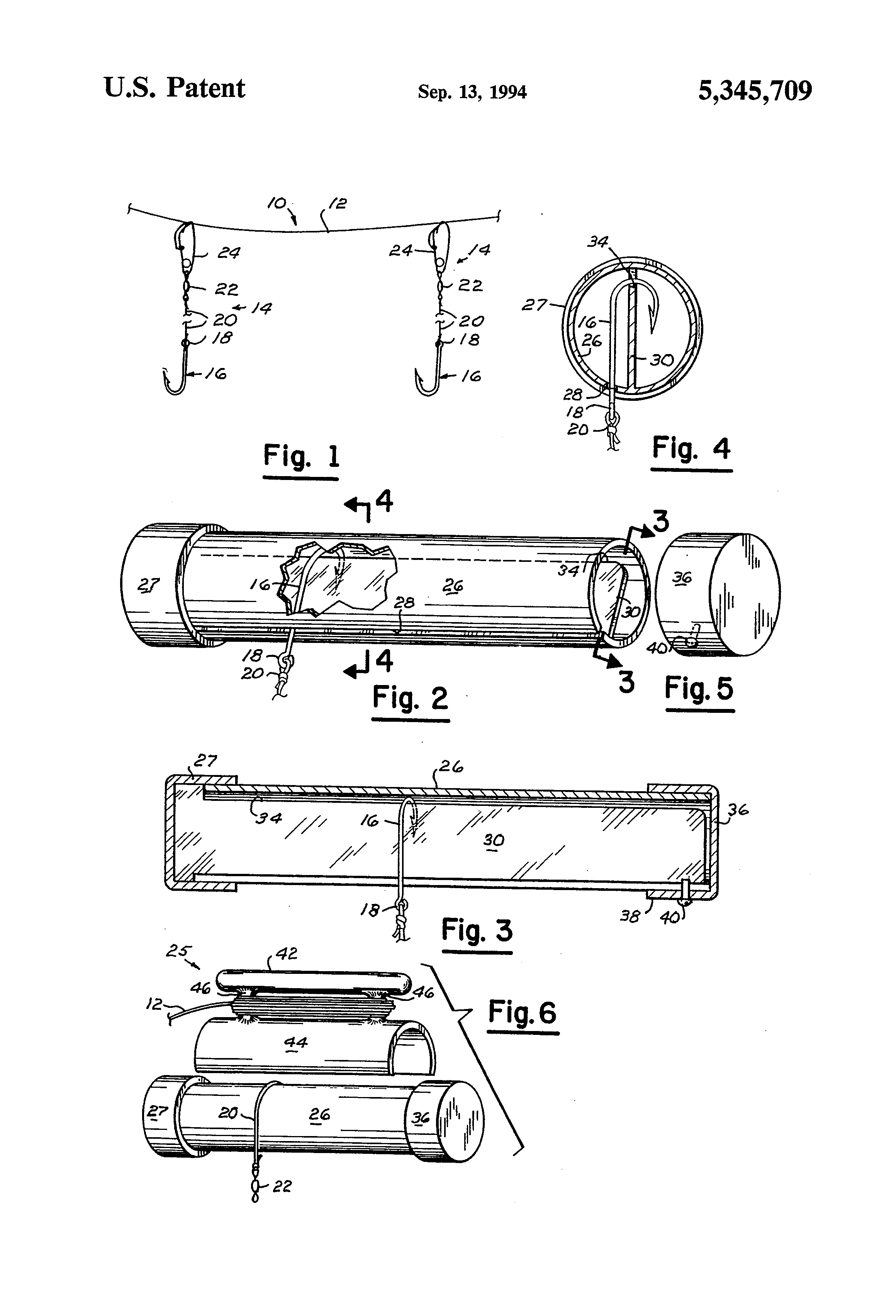 Patent Us5345709 Trotline And Fishhook Holder Google Patents
