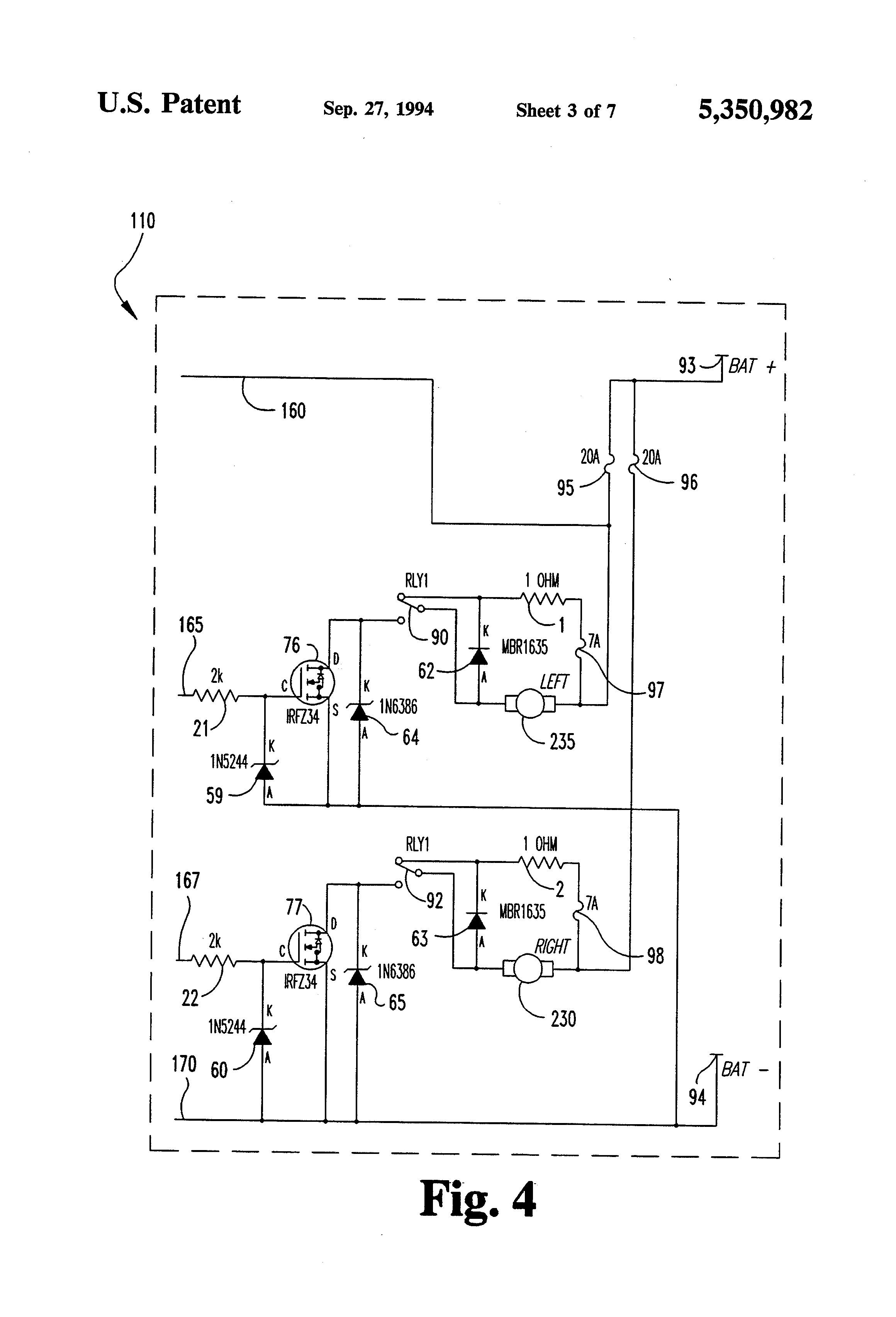US5350982 3 patent us5350982 motorized golf bag cart circuit and apparatus Potentiometer Motor Wiring Diagram at aneh.co