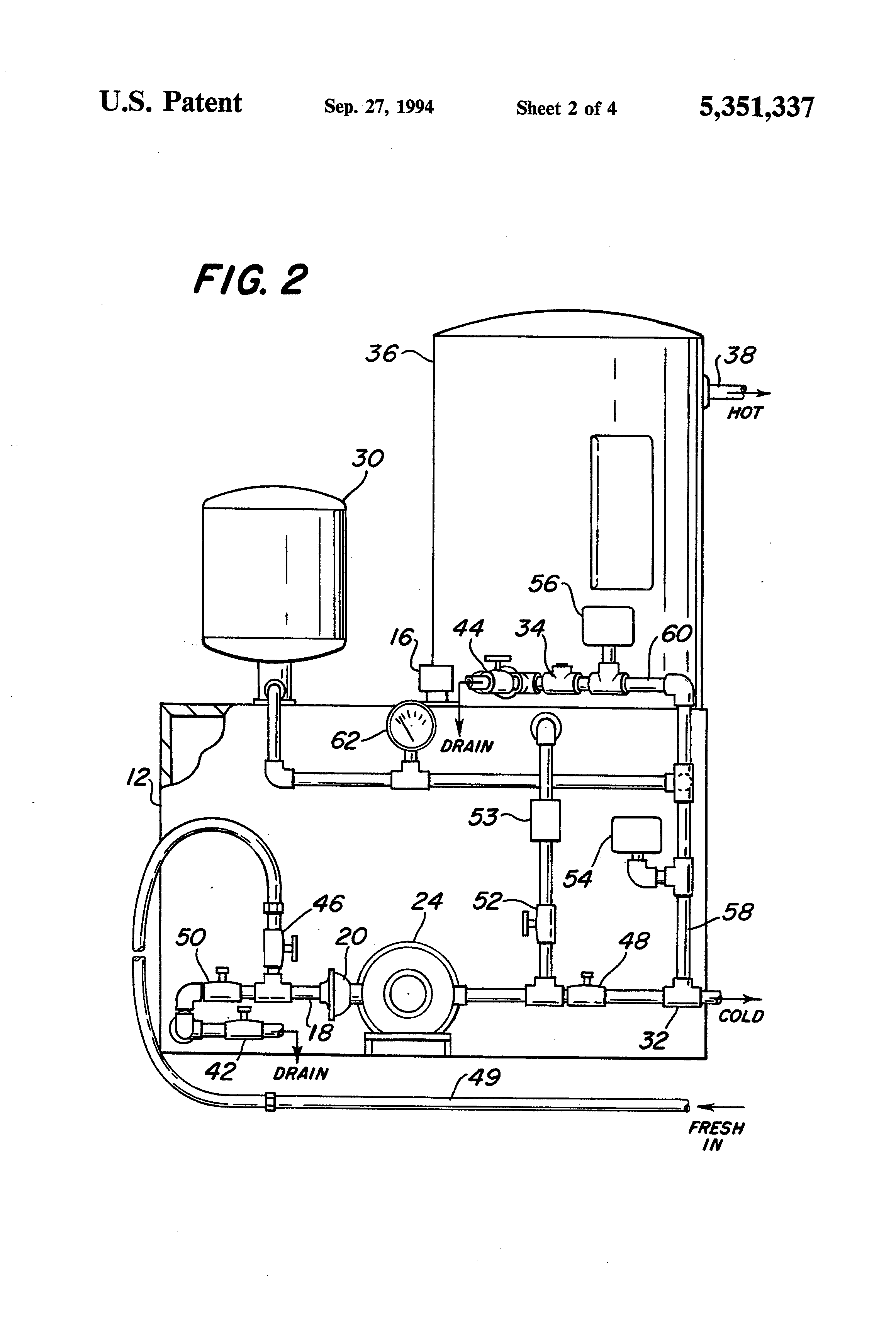 patent us5351337 - self-contained pressurized water delivery system