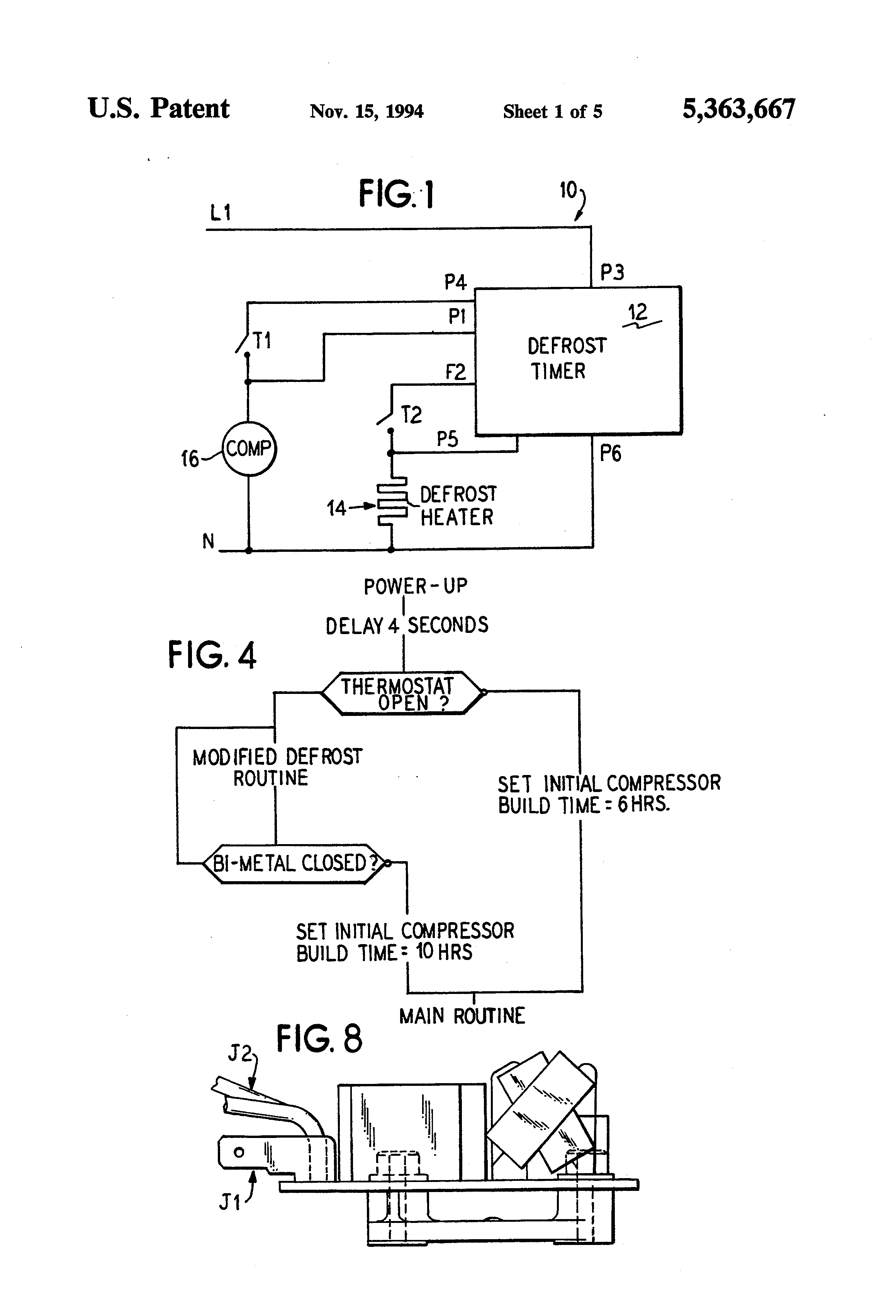 patent us5363667 refrigerator control circuit relay patent drawing