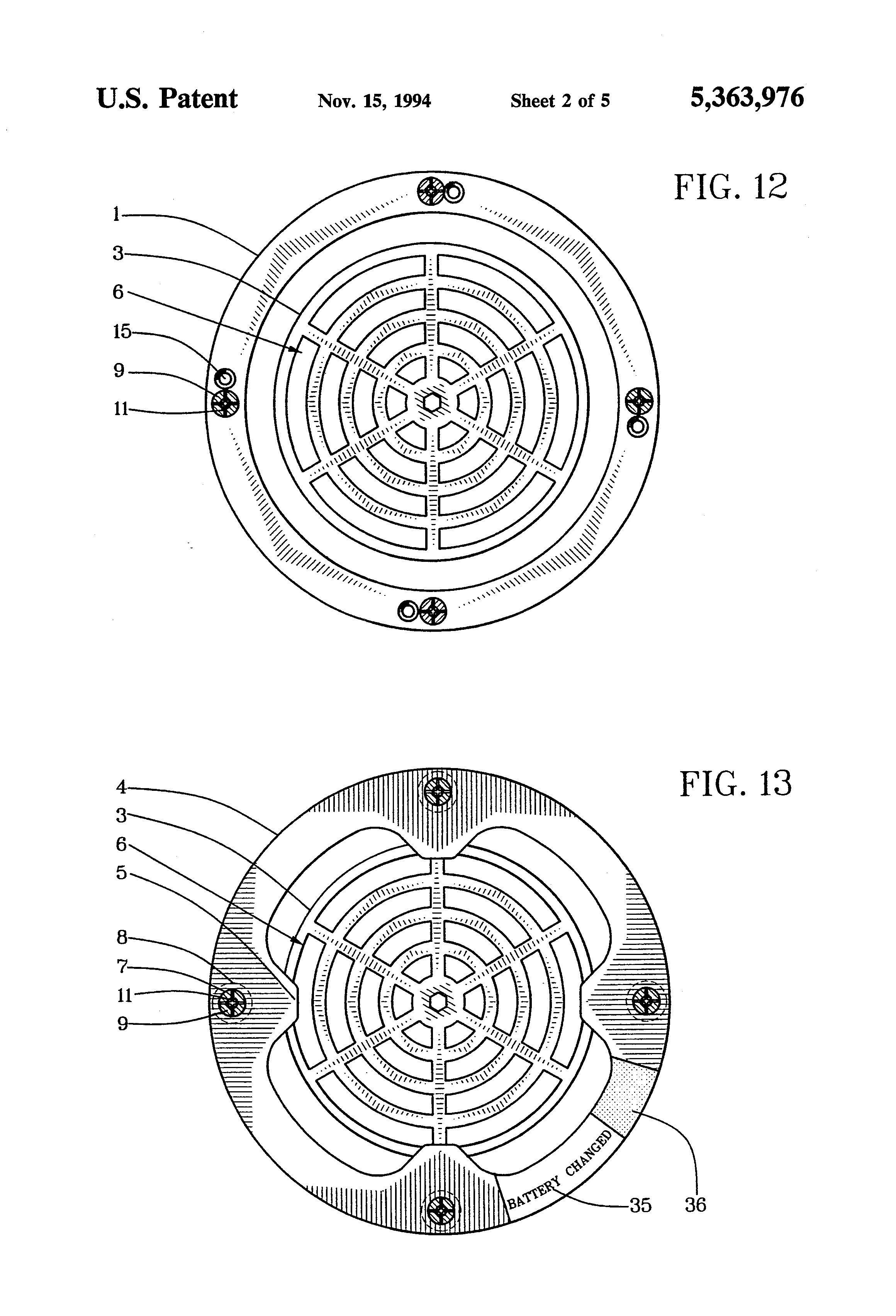 patent us5363976 - smoke detector security cover