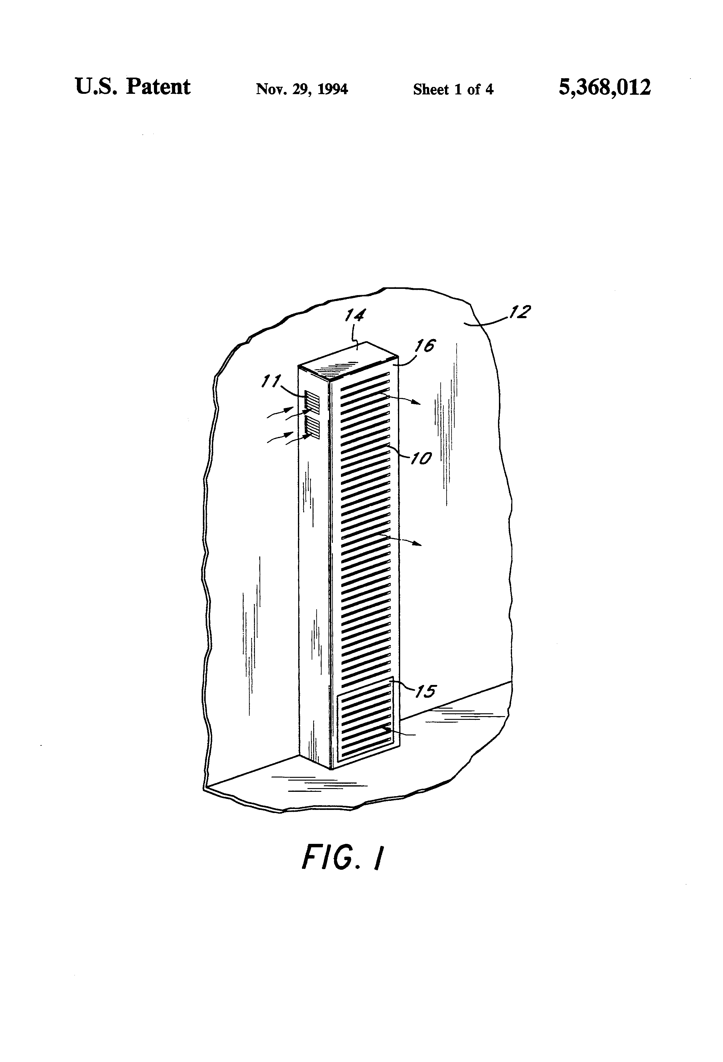 Patente Us5368012 Wall Furnace With Side Vented Draft Hood Williams Top Vent Wiring Diagrams Patent Drawing