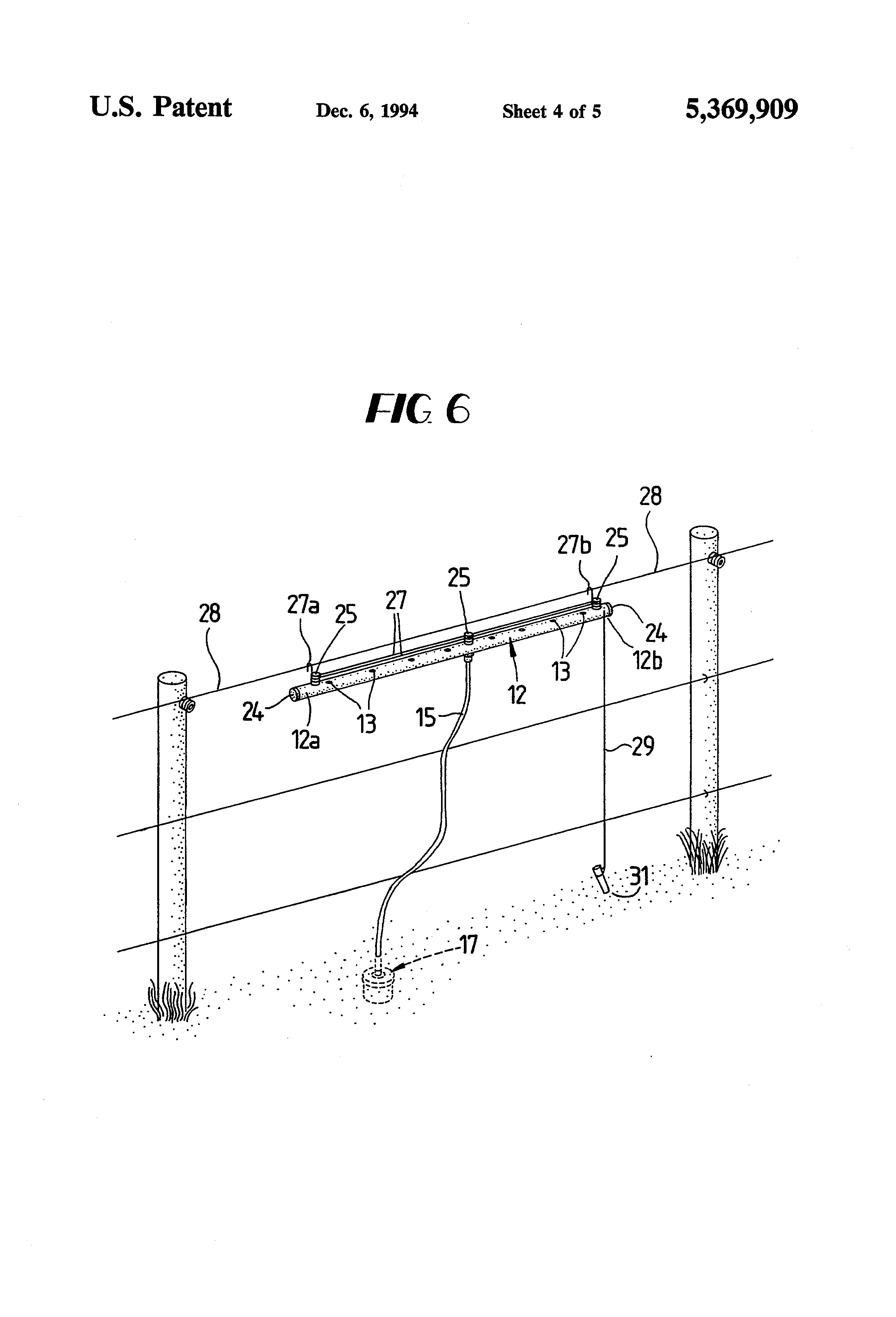 patent us5369909 - apparatus for killing insects along an electric fence