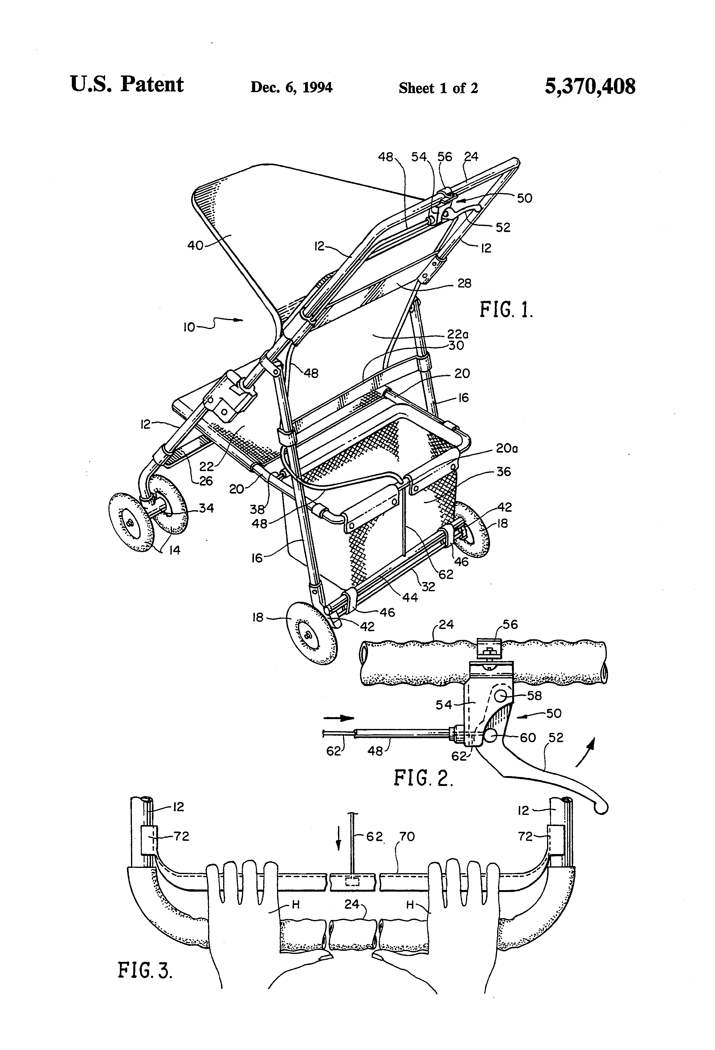 Patent US5370408  Baby stroller or baby carriage brake systems