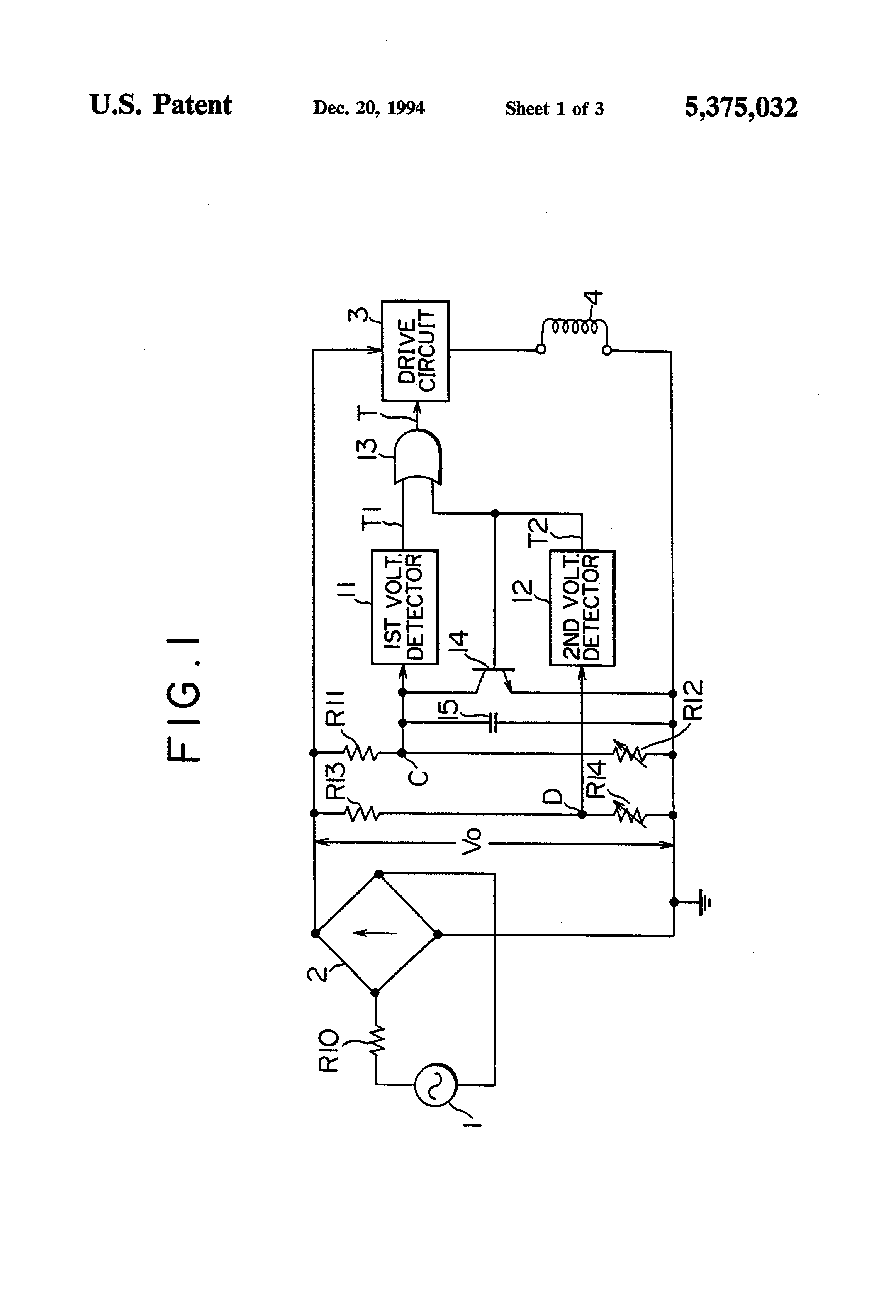 patent us5375032 - trip control device for circuit breaker