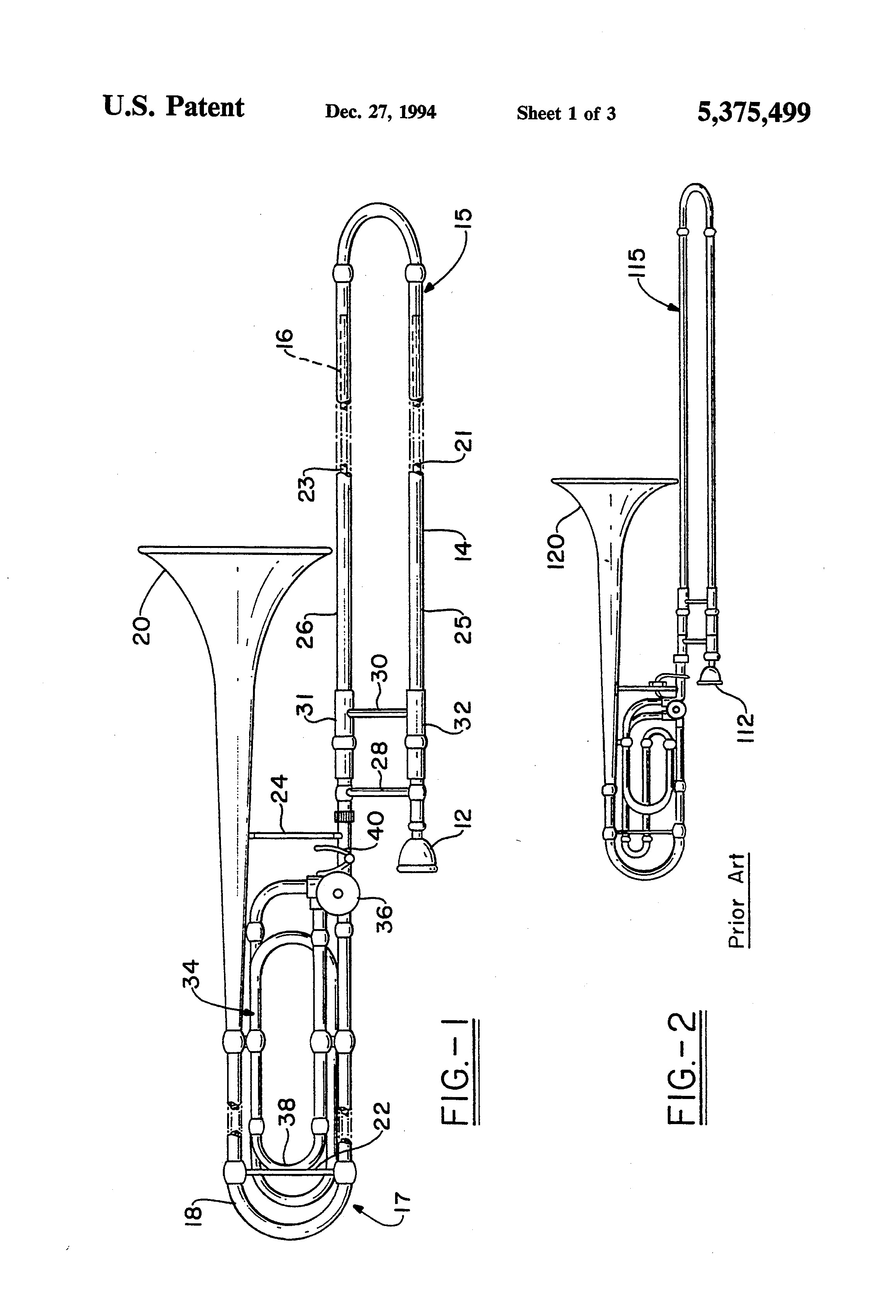 US5375499 1 patent us5375499 single trigger perfect fifth slide bass trombone