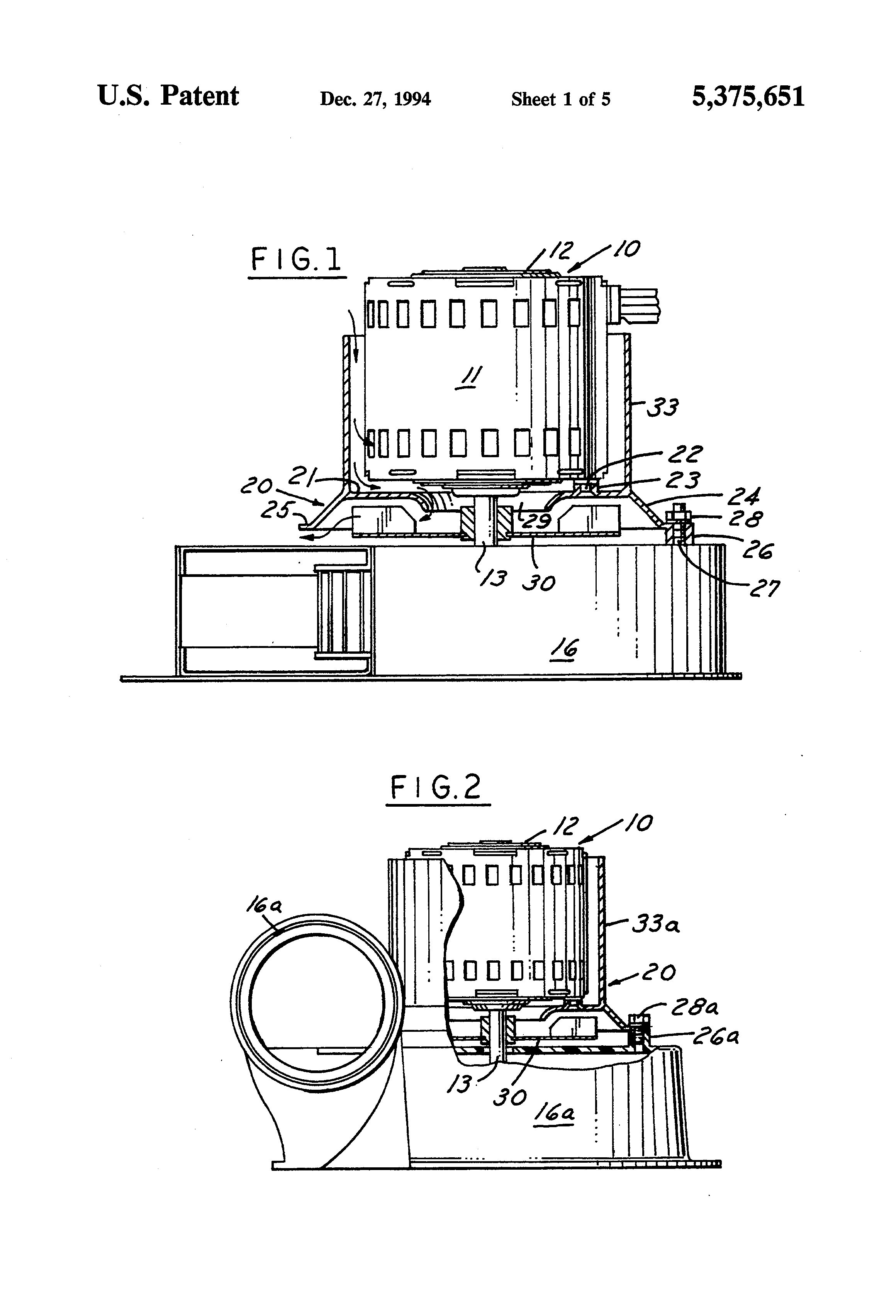 patent us5375651 draft inducer blower motor mounting and cooling