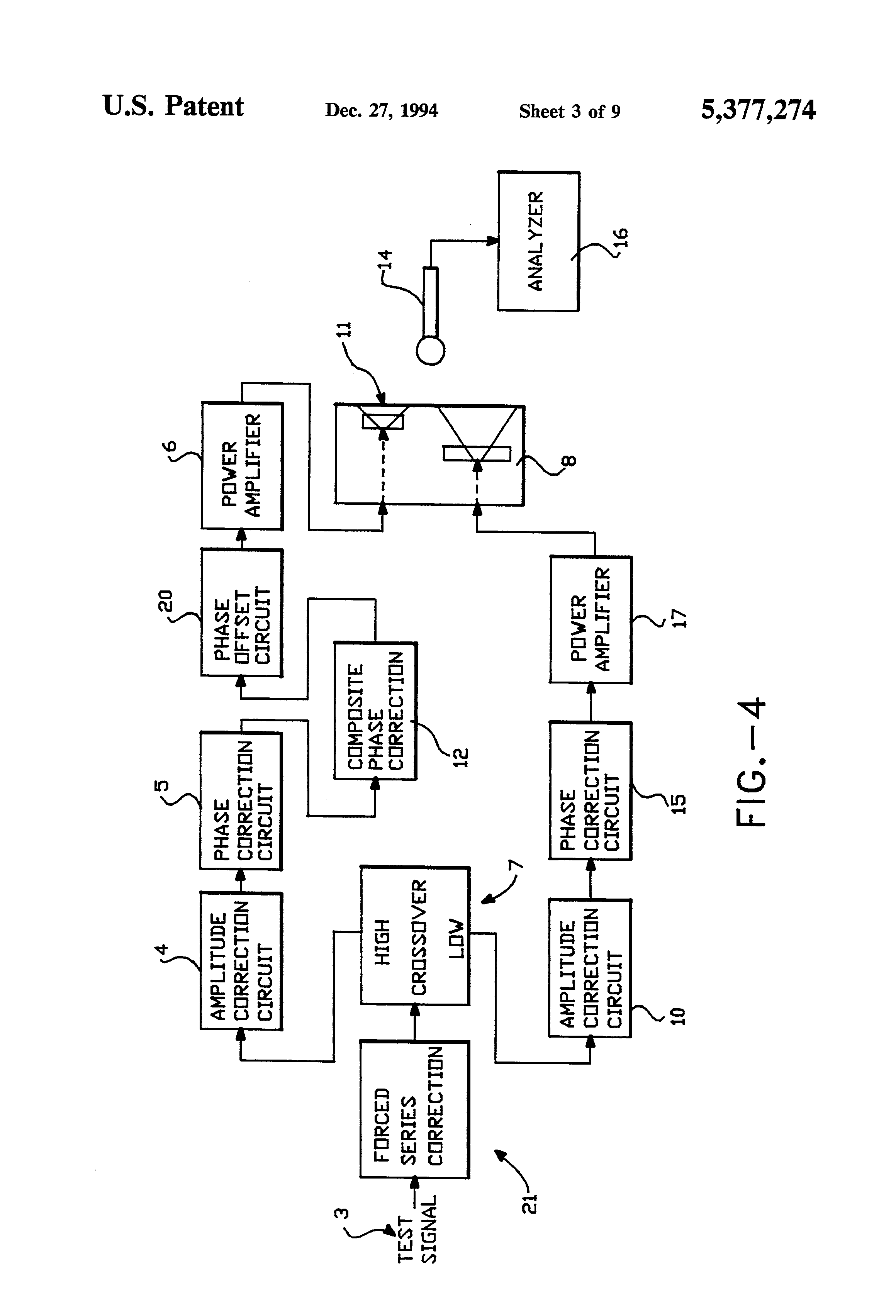 Patent Us5377274 Correction Circuit And Method For Improving The Two Way Active Crossover With Linear Phase Response Drawing