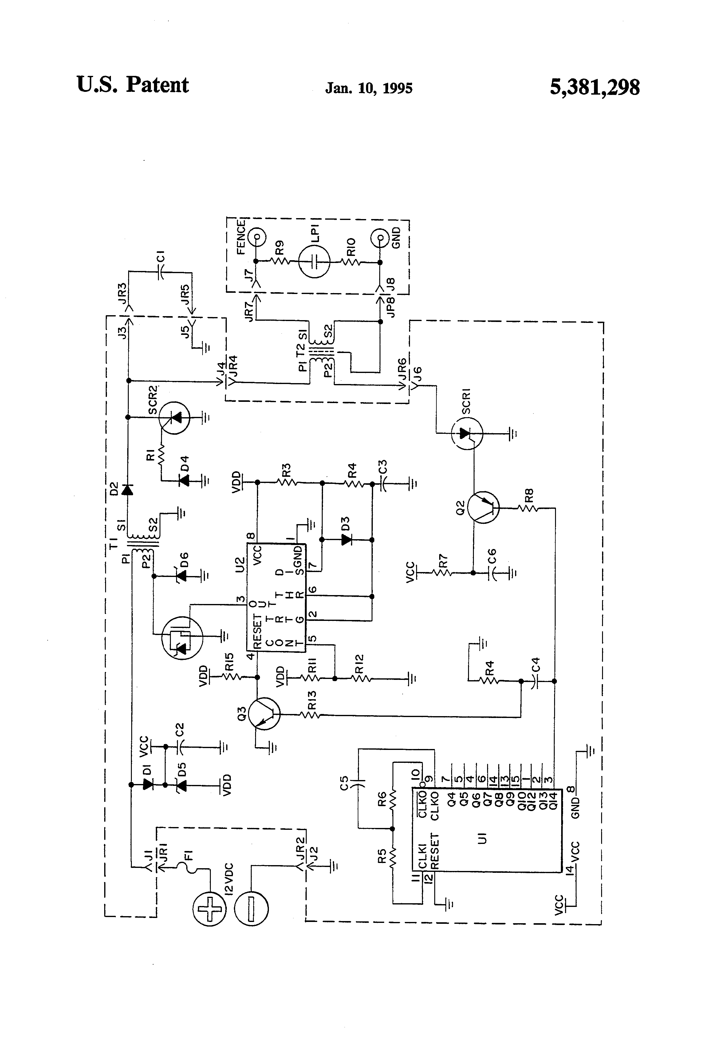 US5381298 1 patent us5381298 electric fence charger google patents Electric Fence Circuit Diagram at mifinder.co