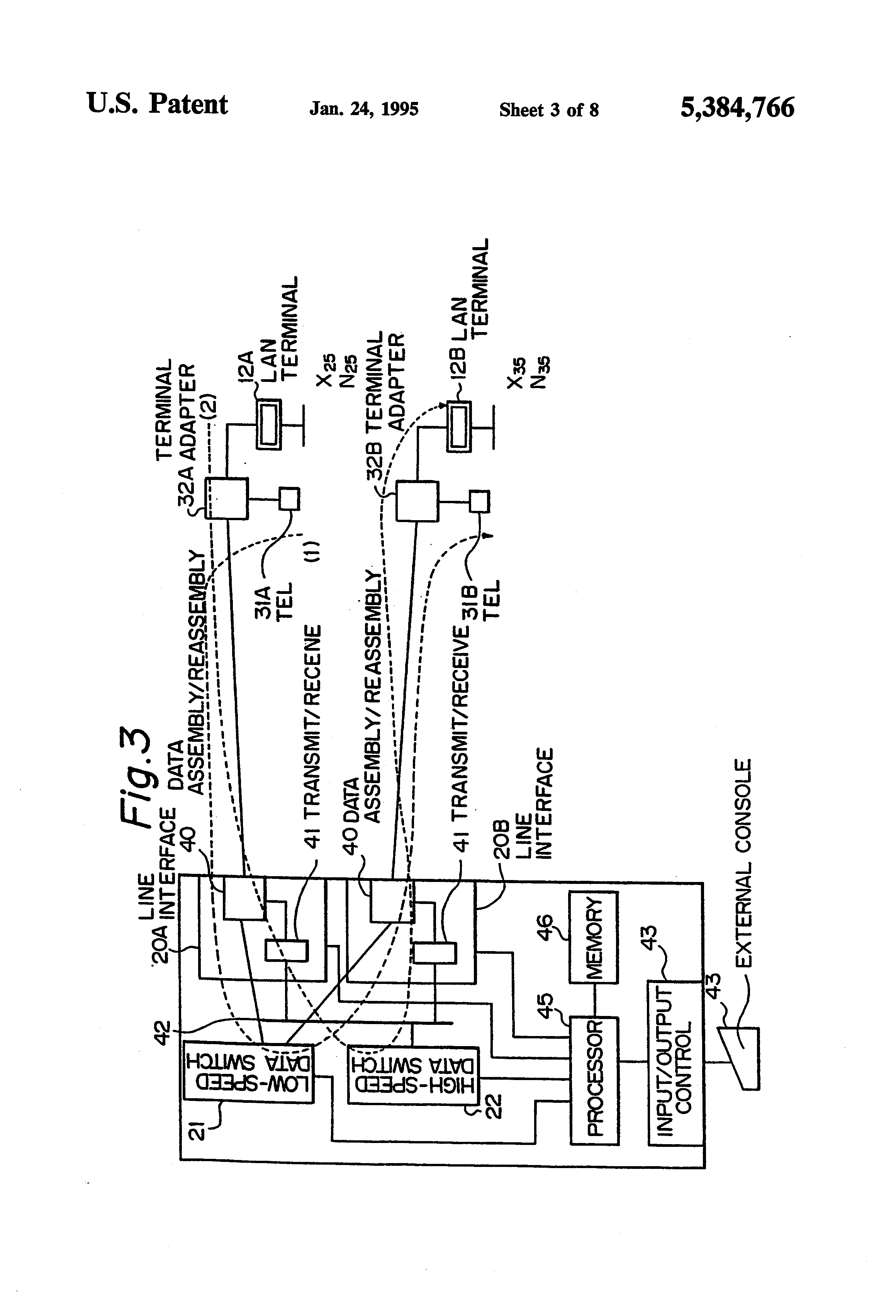 Patent Us5384766 Lan Management System In Electronic Switching Telephone Switcher Circuit Diagram Drawing