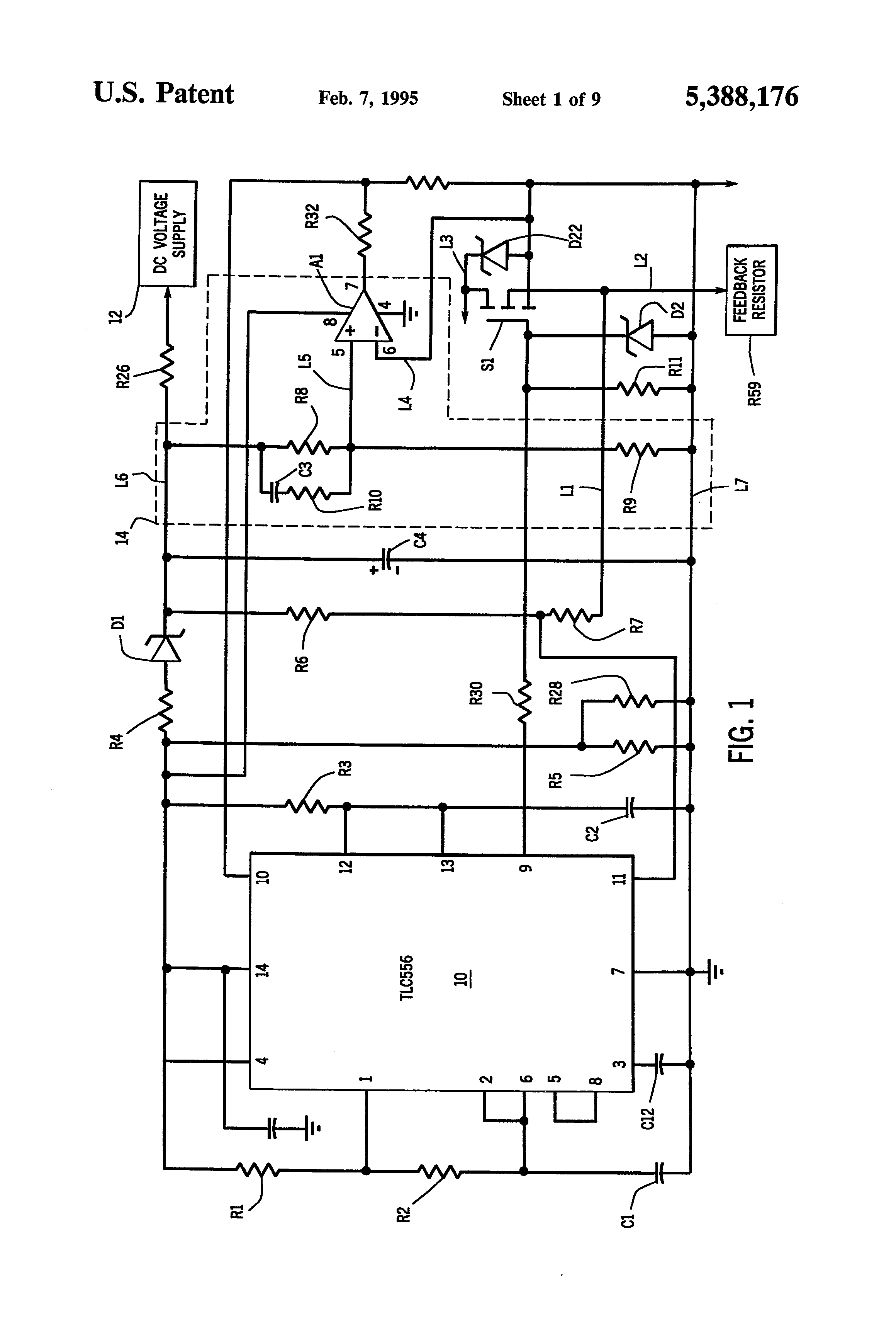patent us5388176 - dc motor speed control system