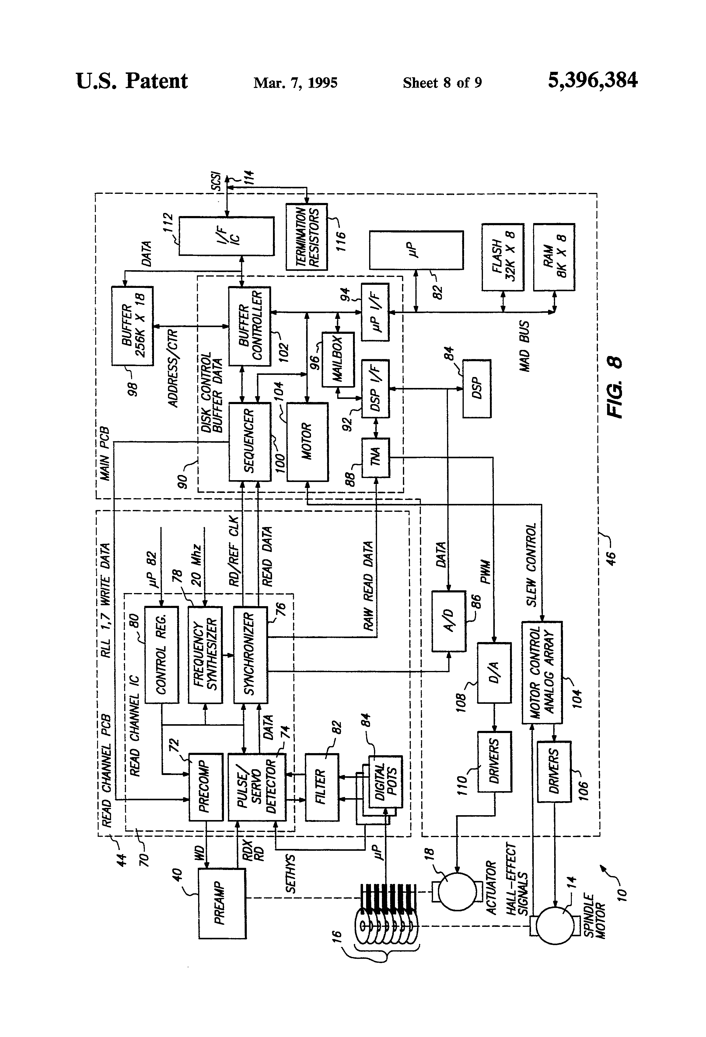 patent us5396384 - hard disk drive architecture
