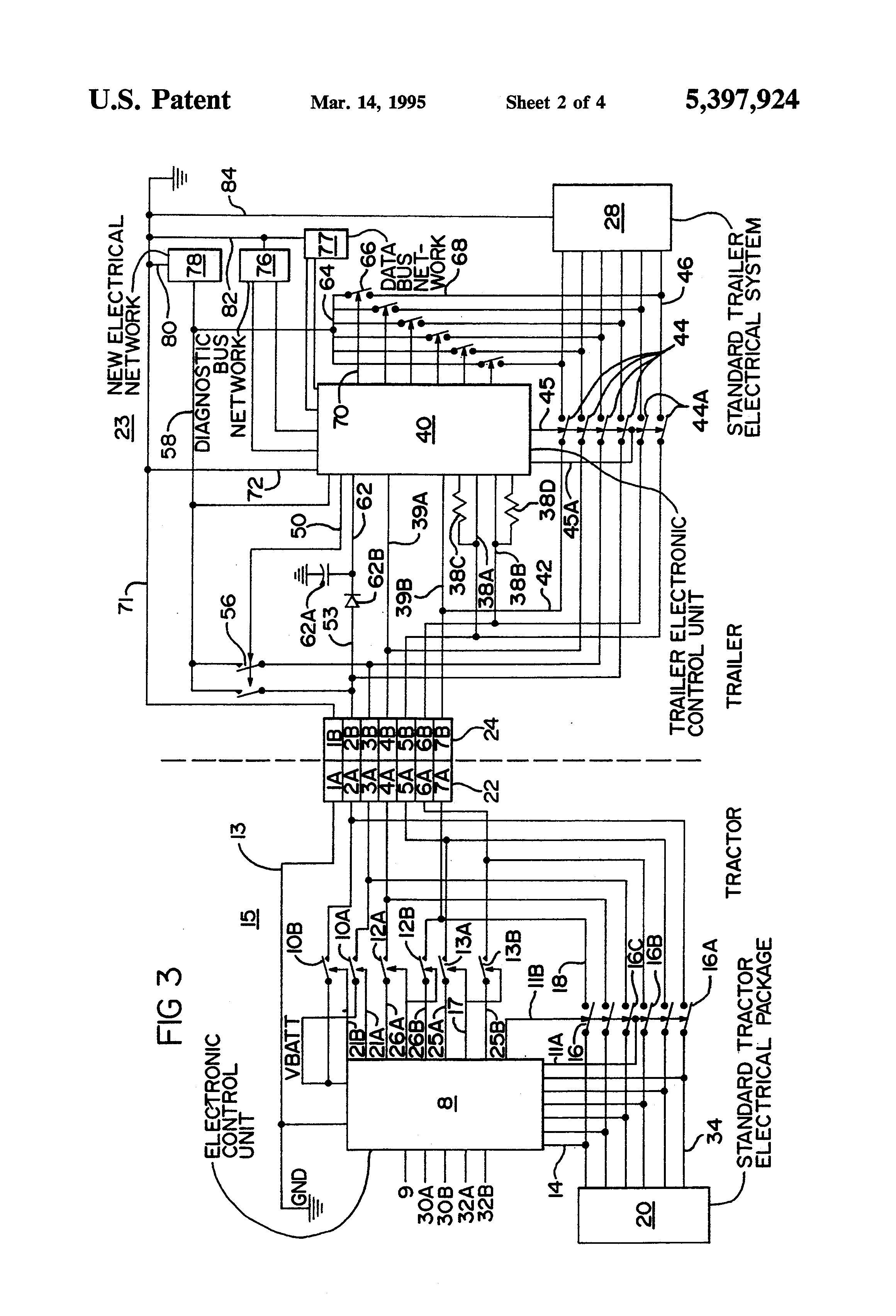 US5397924 2 patent us5397924 truck tractor and trailer electrical semi trailer abs wiring diagram at panicattacktreatment.co