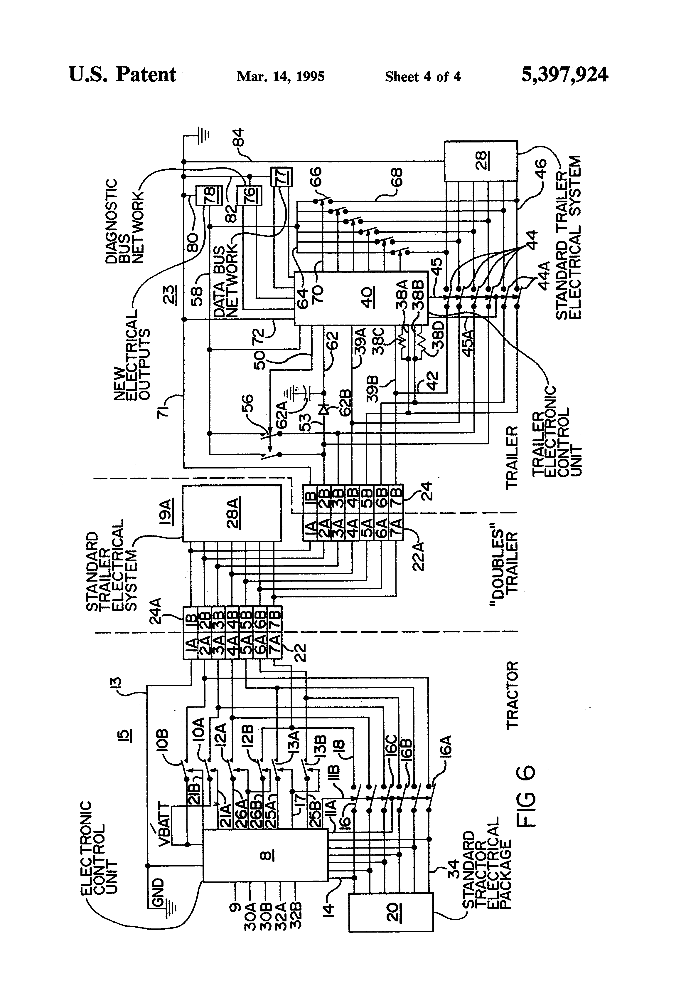 US5397924 4 patent us5397924 truck tractor and trailer electrical semi trailer abs wiring diagram at panicattacktreatment.co